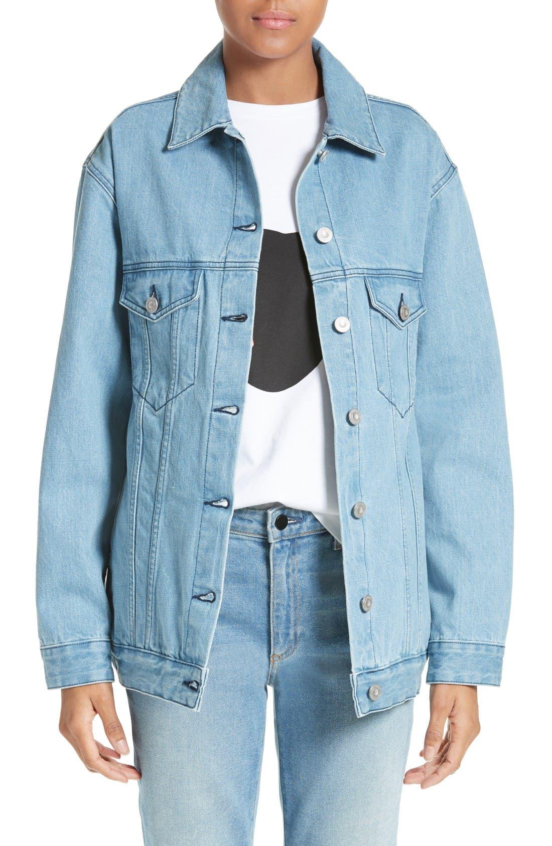 Main Image - être cécile L'Avenue des Stars Embroidered Denim Jacket