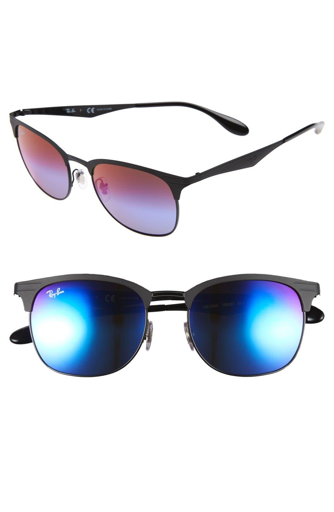 Highstreet 53mm Sunglasses,                             Main thumbnail 1, color,                             Black/ Blue