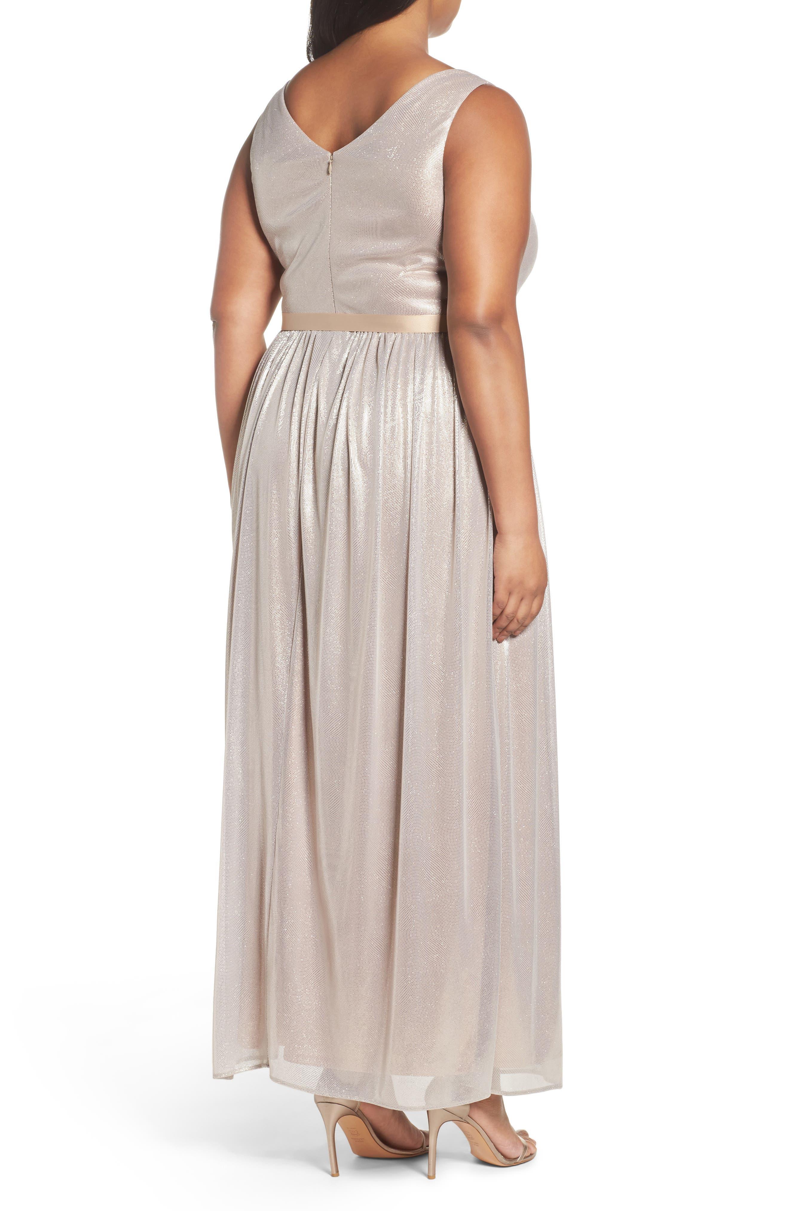 Alternate Image 2  - Marina Metallic Gown (Plus Size)