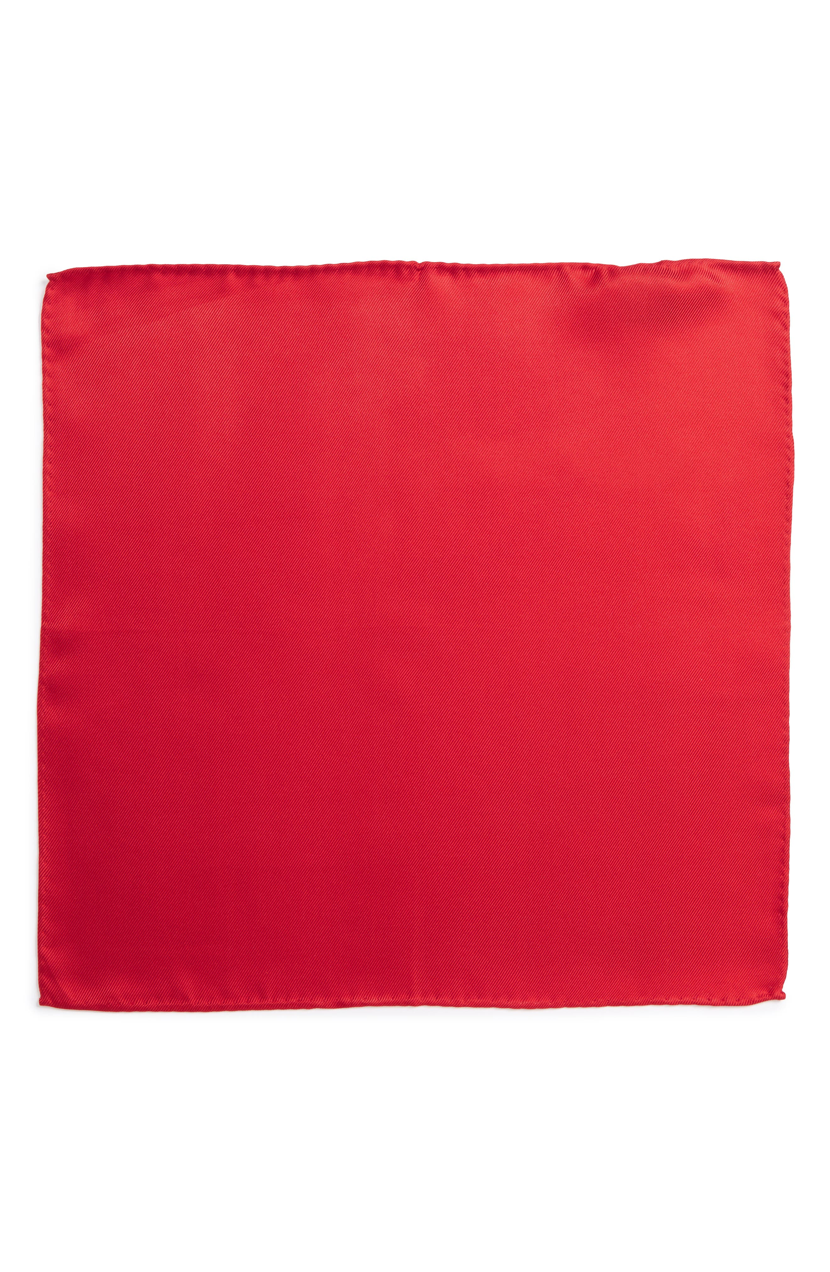 Solid Silk Pocket Square,                             Alternate thumbnail 2, color,                             Red