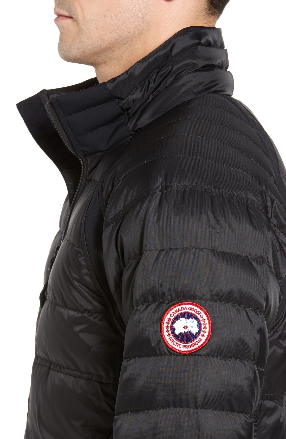 HyBridge Perren Packable Down Jacket,                             Alternate thumbnail 4, color,                             Black