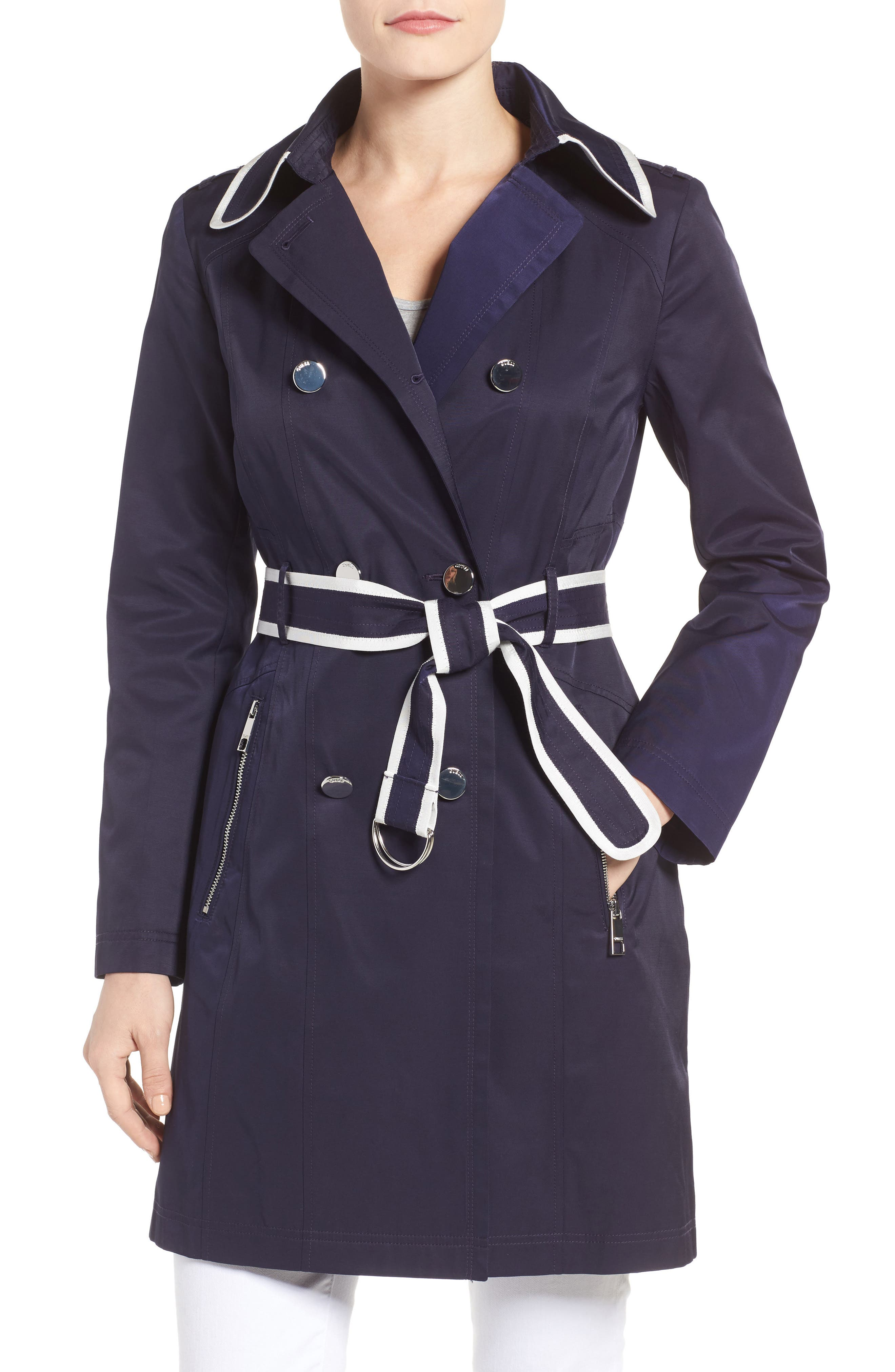 Piped Trench Coat,                         Main,                         color, Navy