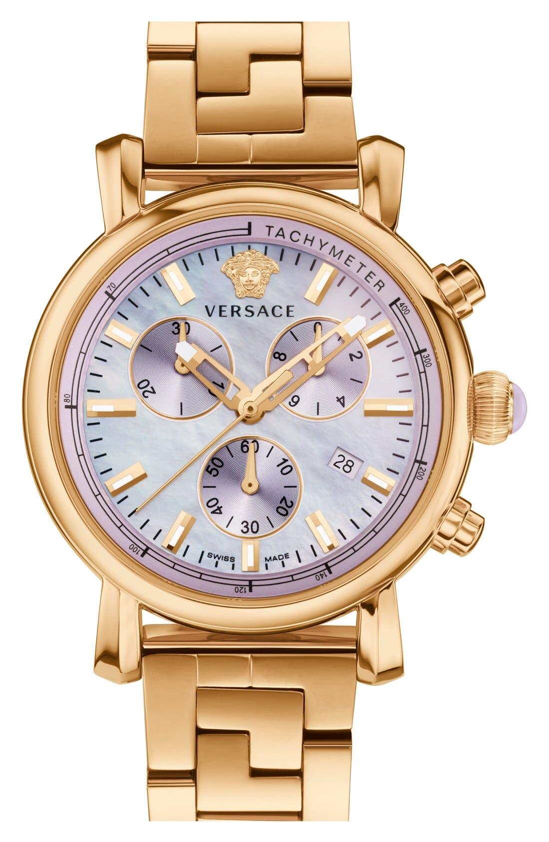 Main Image - Versace 'Day Glam' Chronograph Bracelet Watch, 38mm