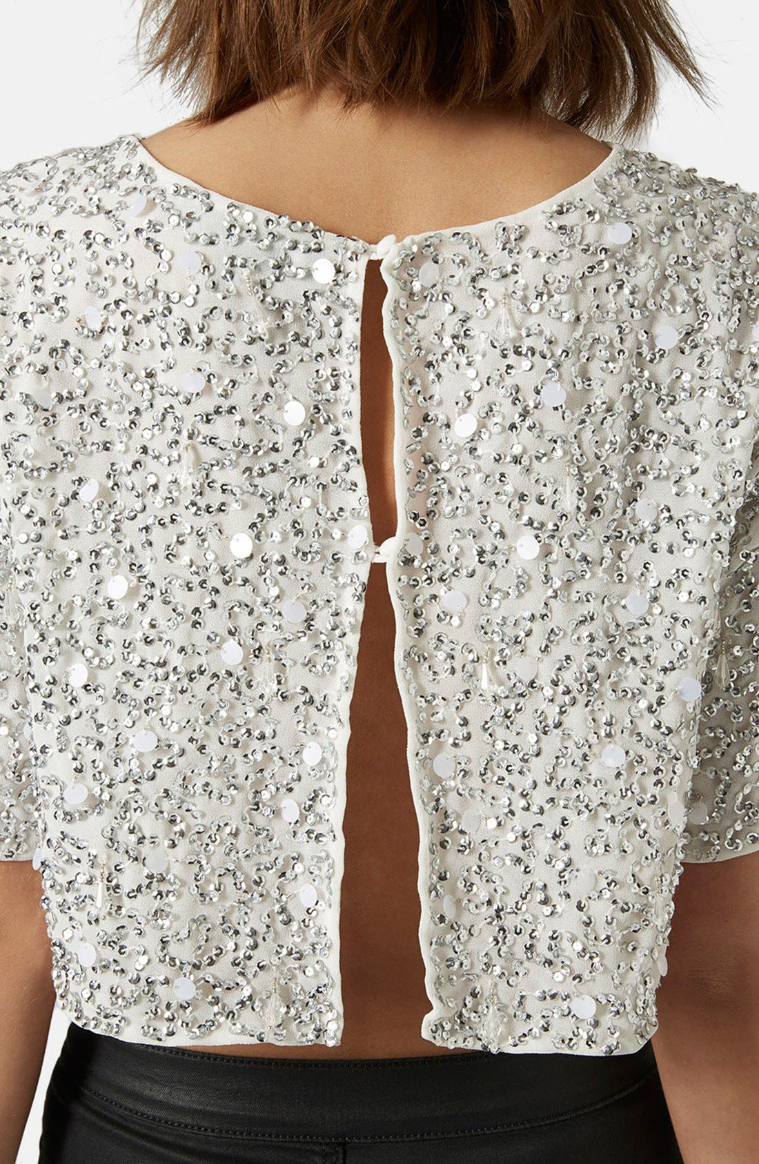 Sequin Crop Tee,                             Alternate thumbnail 4, color,                             White