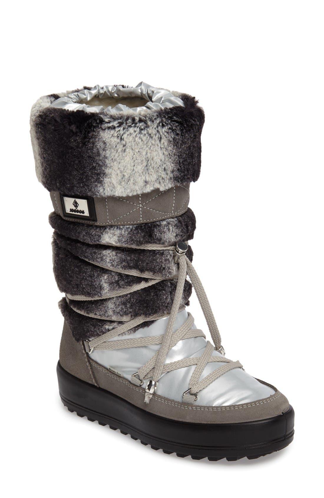 Kitzbuhel Faux Fur Waterproof Quilted Boot,                             Main thumbnail 1, color,                             Silver/ Lapin