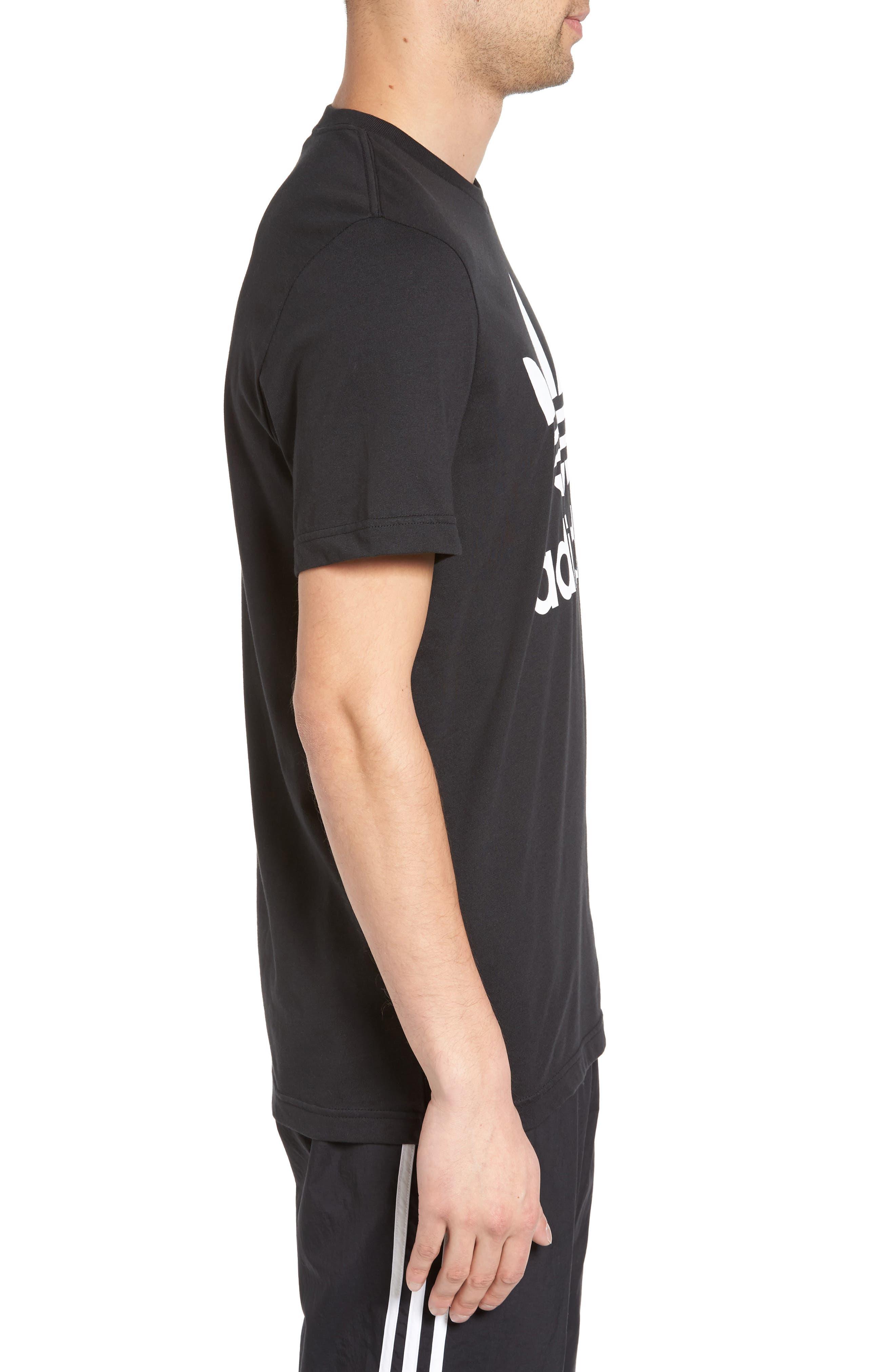 Trefoil Graphic T-Shirt,                             Alternate thumbnail 3, color,                             Black