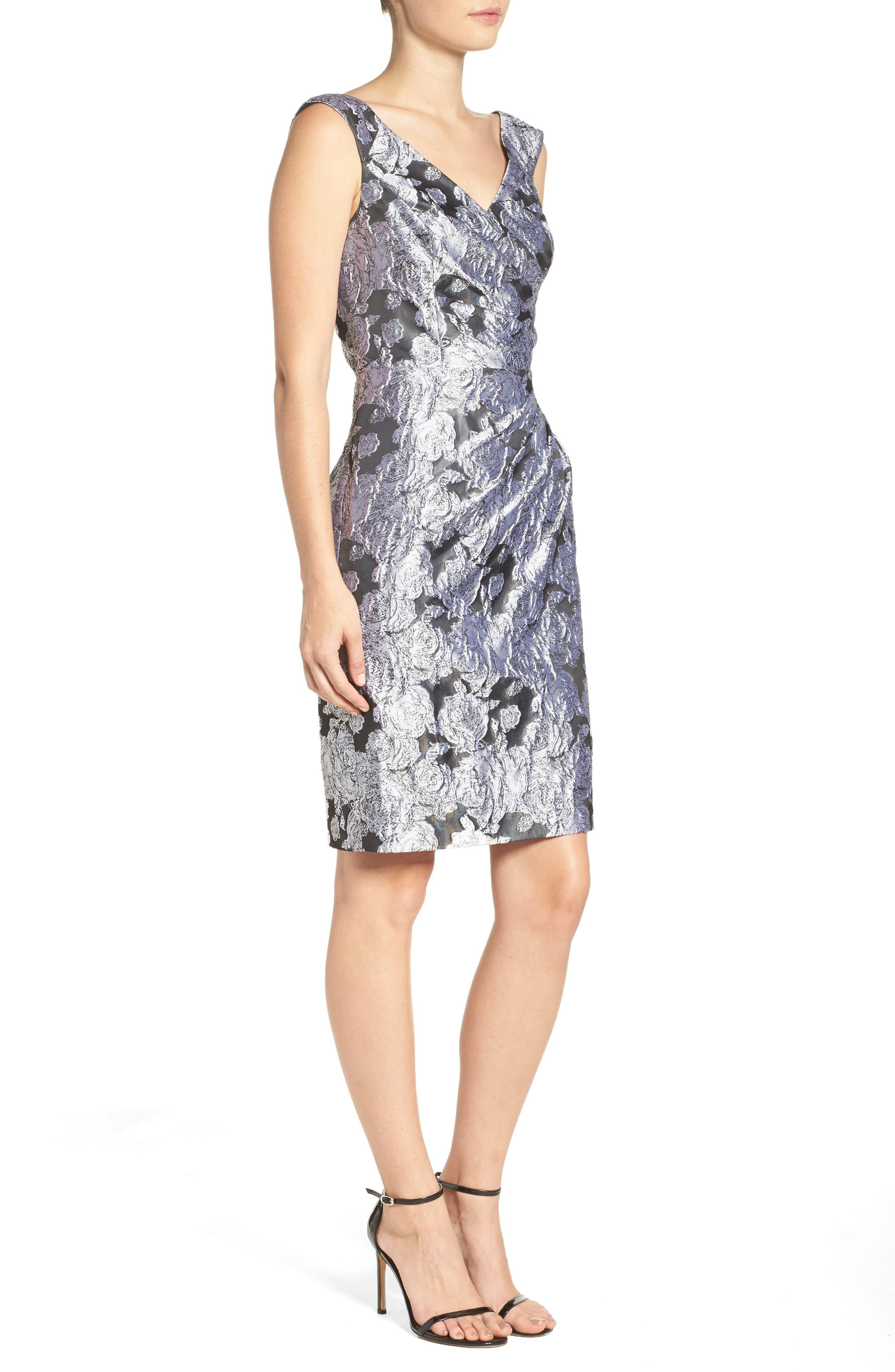 Alternate Image 3  - Adrianna Papell Floral Jacquard Sheath Dress
