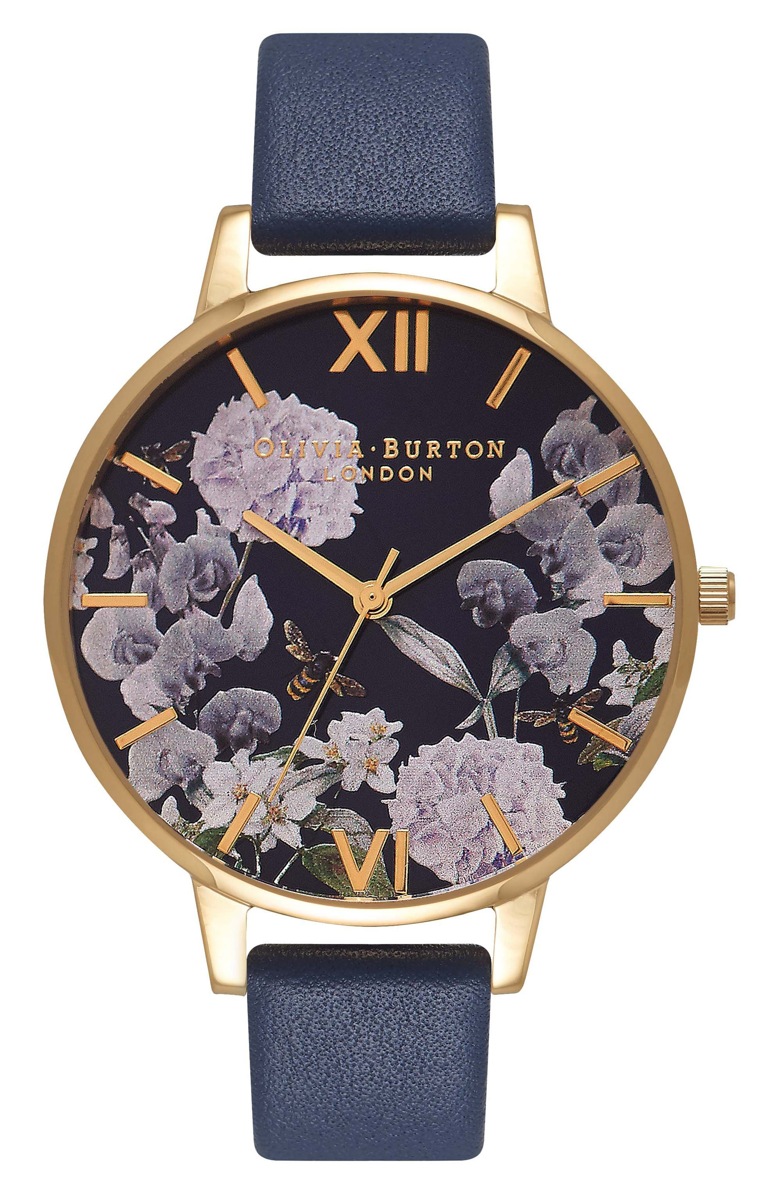 Leather Strap Watch, 38mm,                         Main,                         color, Navy/ Floral/ Gold