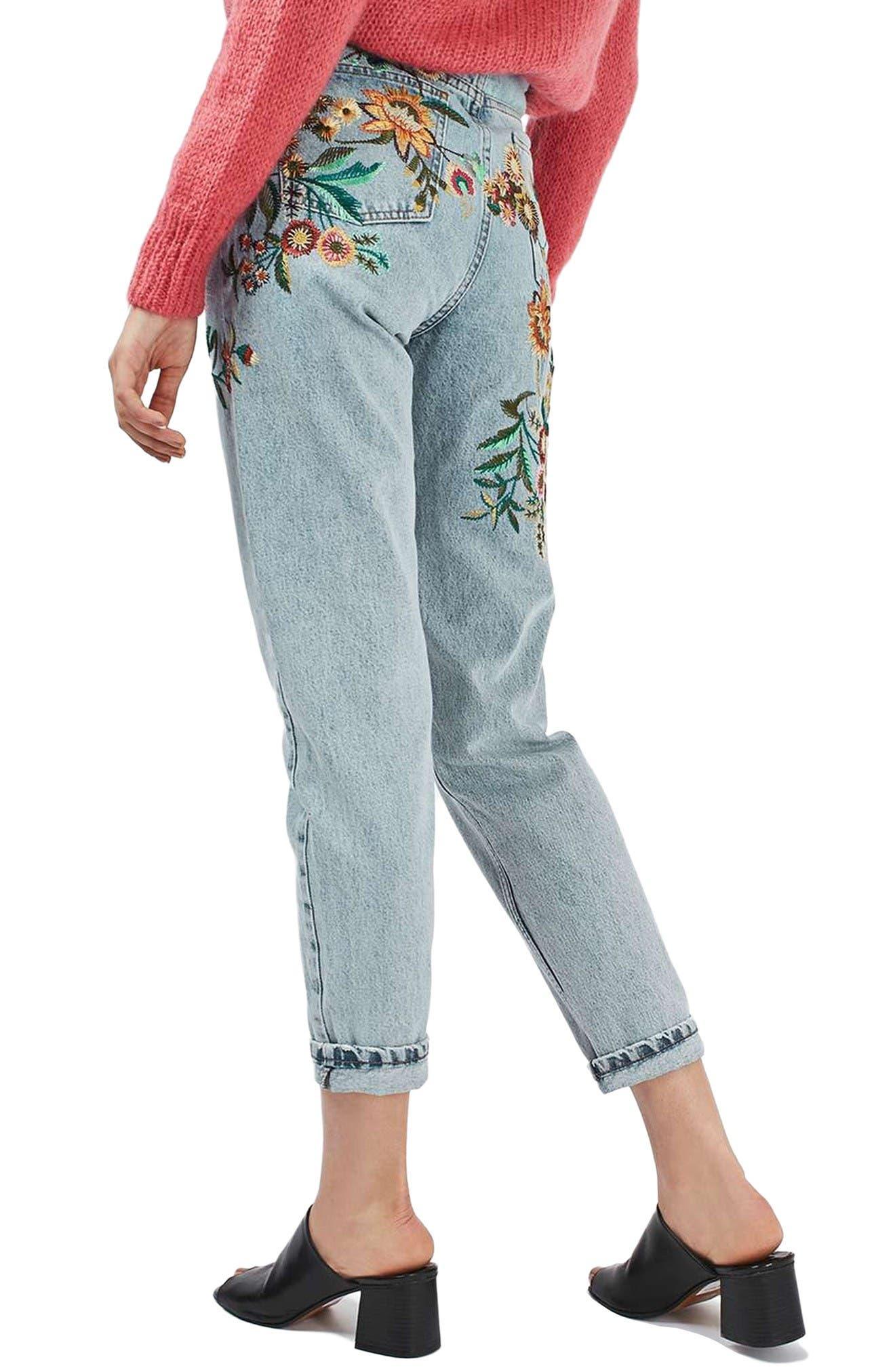 Alternate Image 3  - Topshop Mom Embroidered Jeans