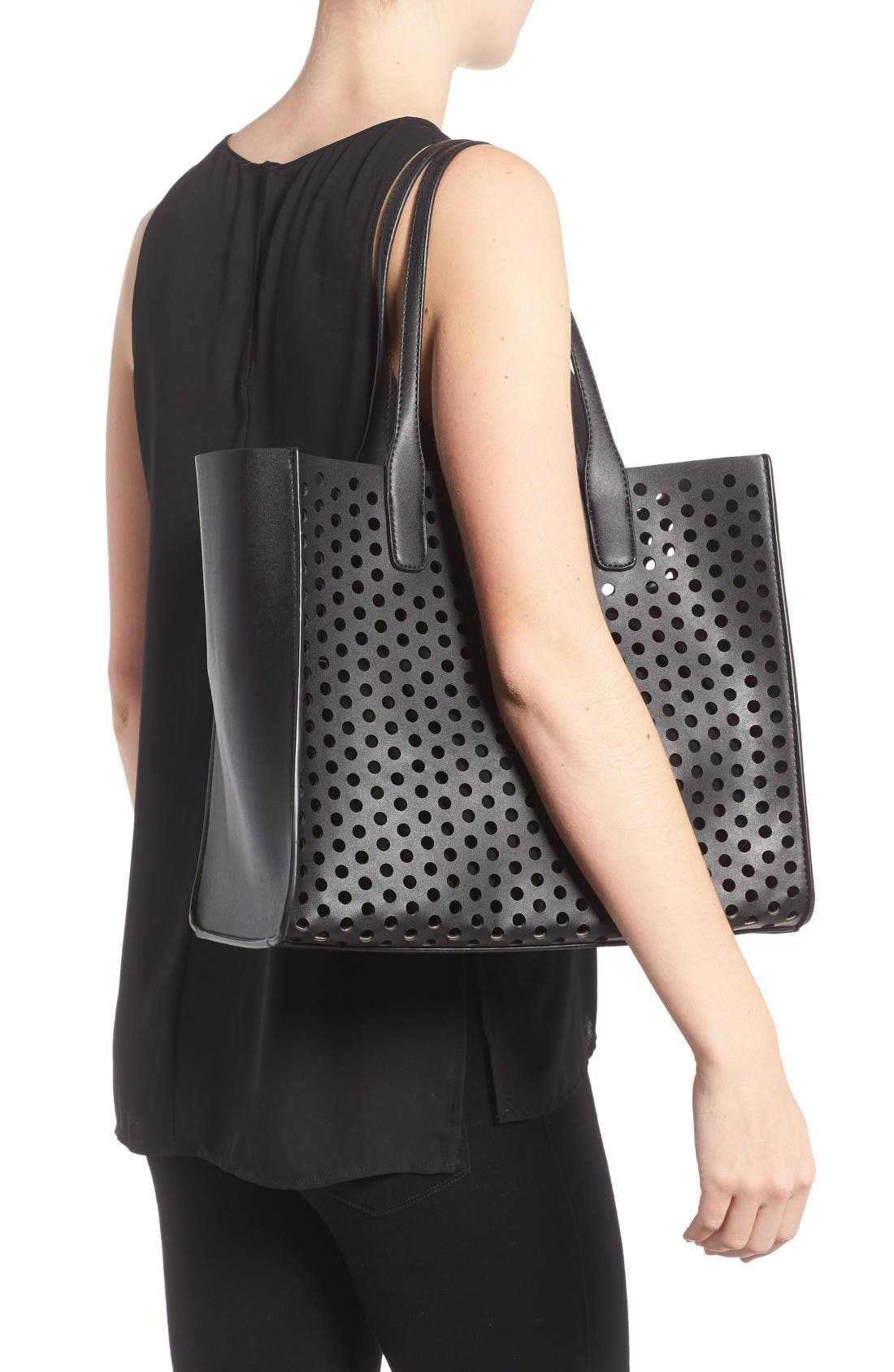 Alternate Image 2  - Emperia Romy Perforated Faux Leather Tote & Pouch (Special Purchase)