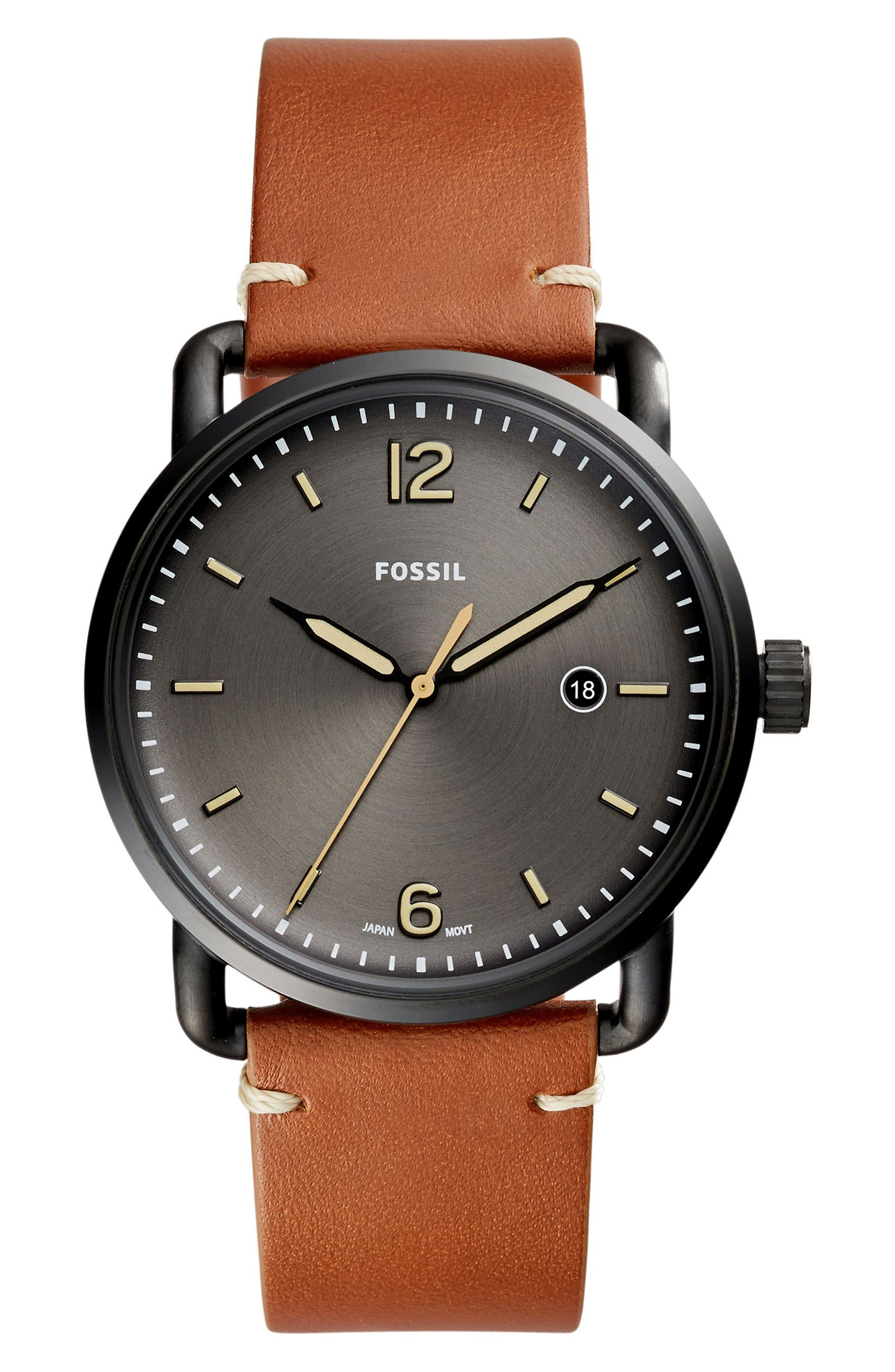 Main Image - Fossil The Commuter Leather Strap Watch, 42mm