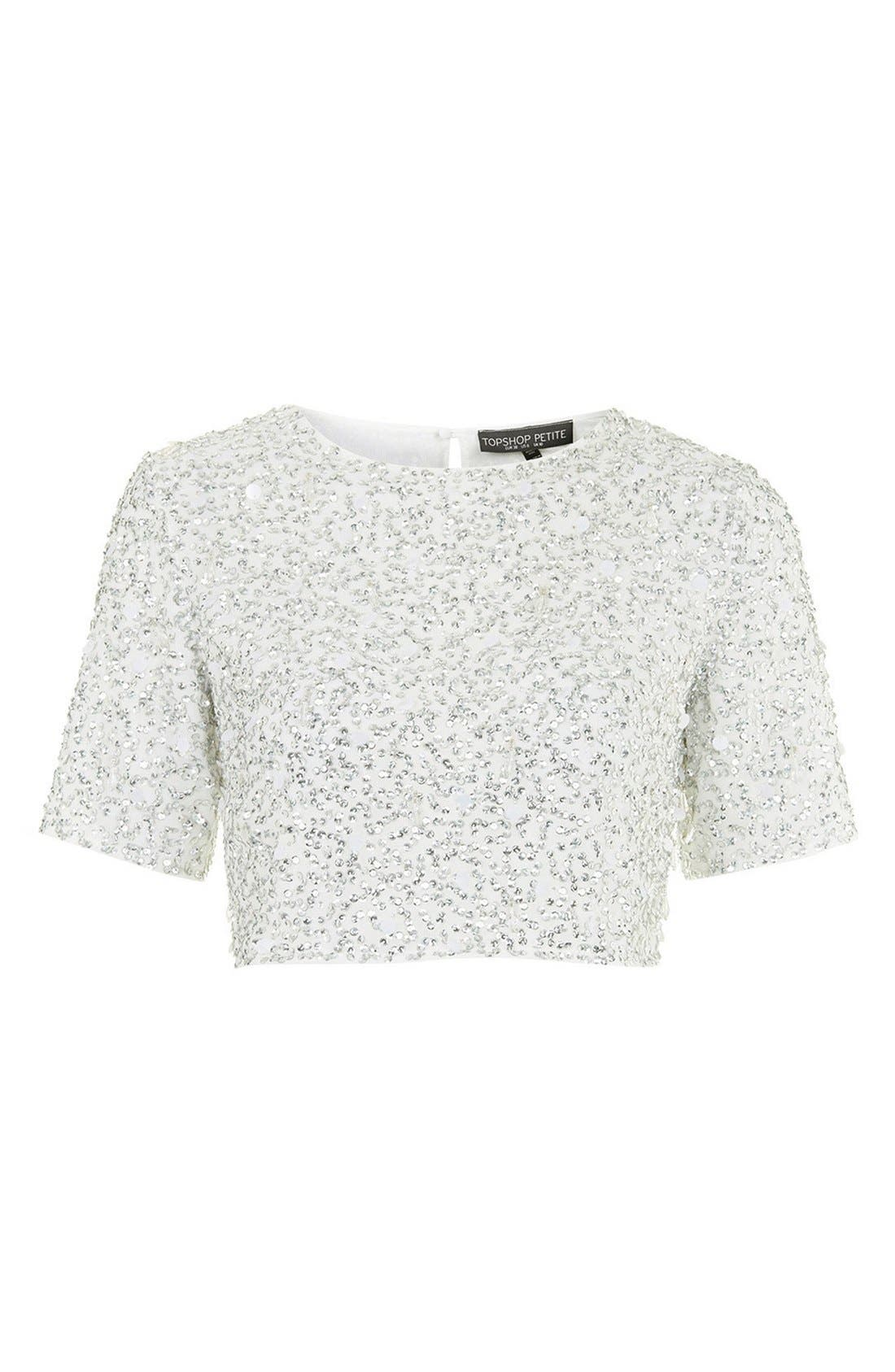 Sequin Crop Tee,                             Alternate thumbnail 3, color,                             White