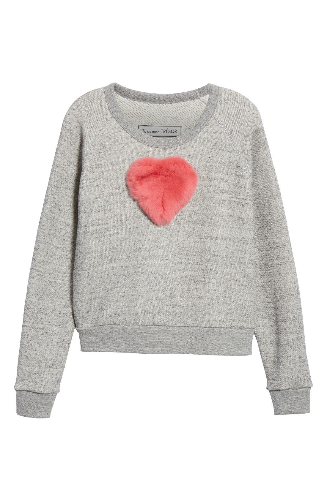 One Heart Pullover,                             Alternate thumbnail 4, color,                             Charcoal/Red