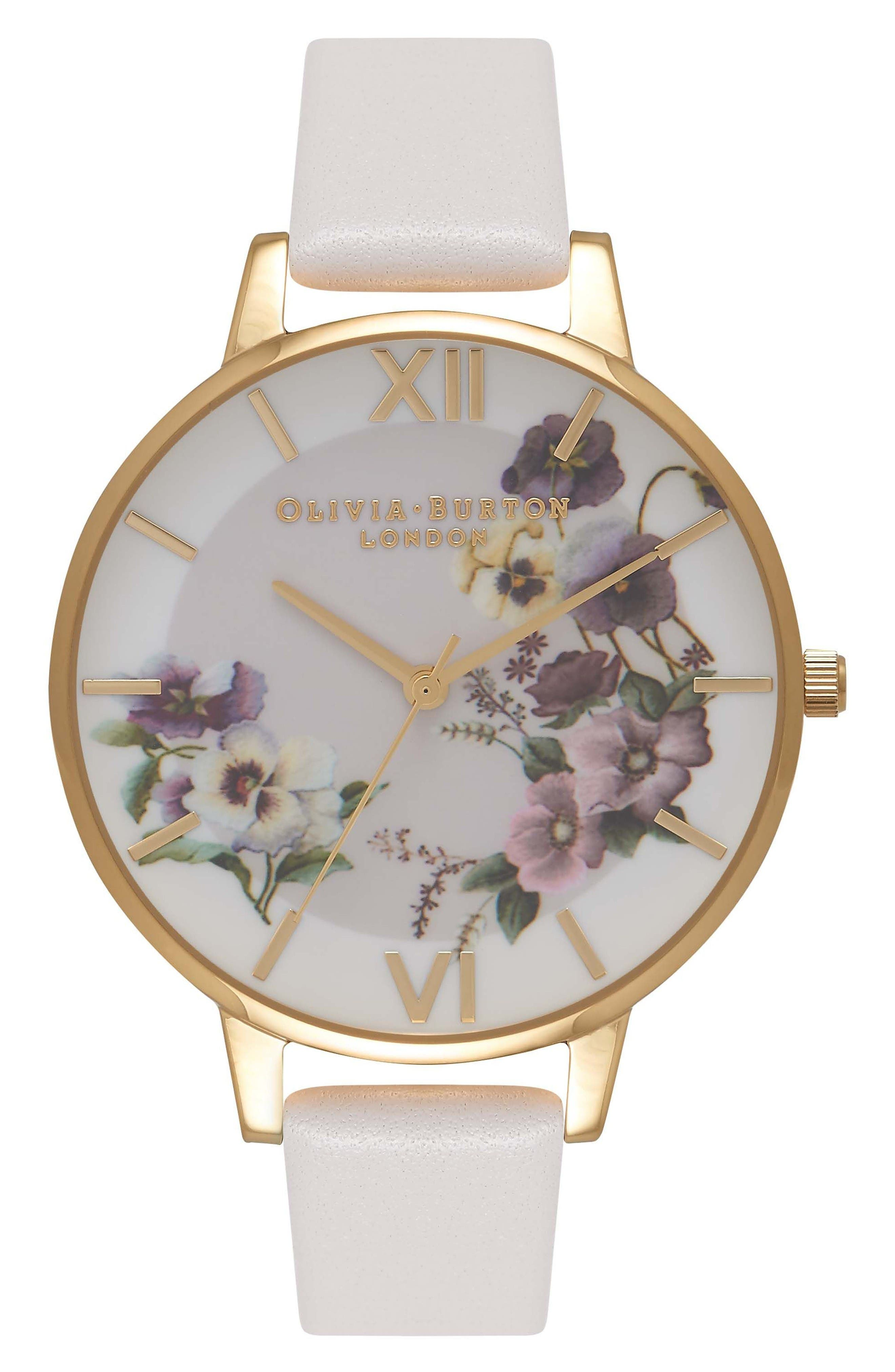 Begin to Blush Leather Strap Watch, 38mm,                         Main,                         color, Blush/ Floral/ Gold