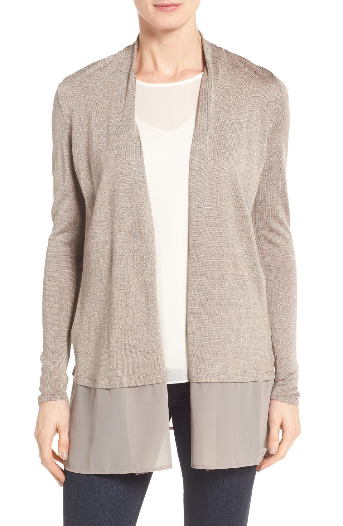 Chiffon Trim Cardigan,                         Main,                         color, Mushroom
