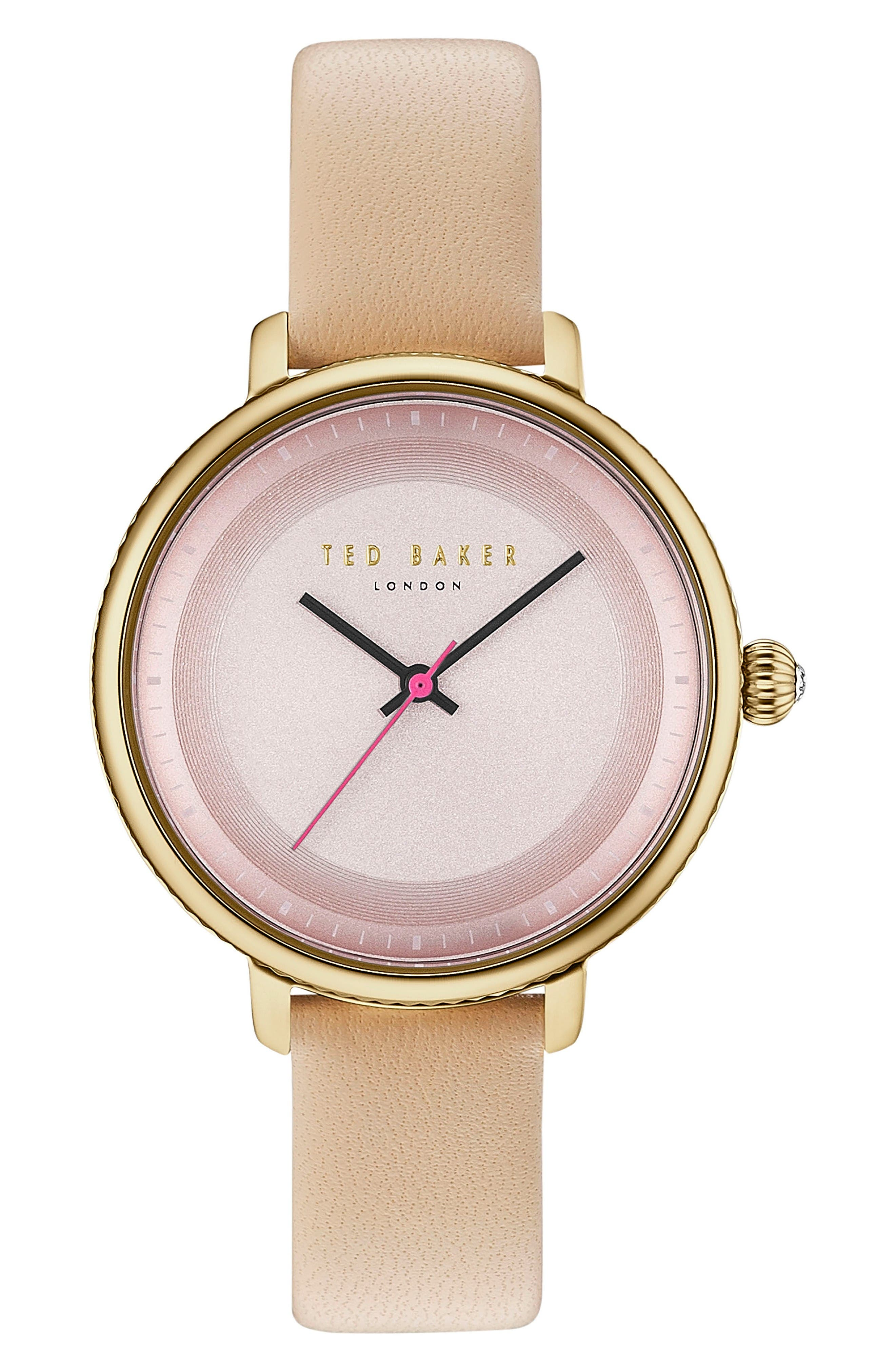 Isla Round Leather Strap Watch, 36mm,                         Main,                         color, Beige/ Pink/ Gold