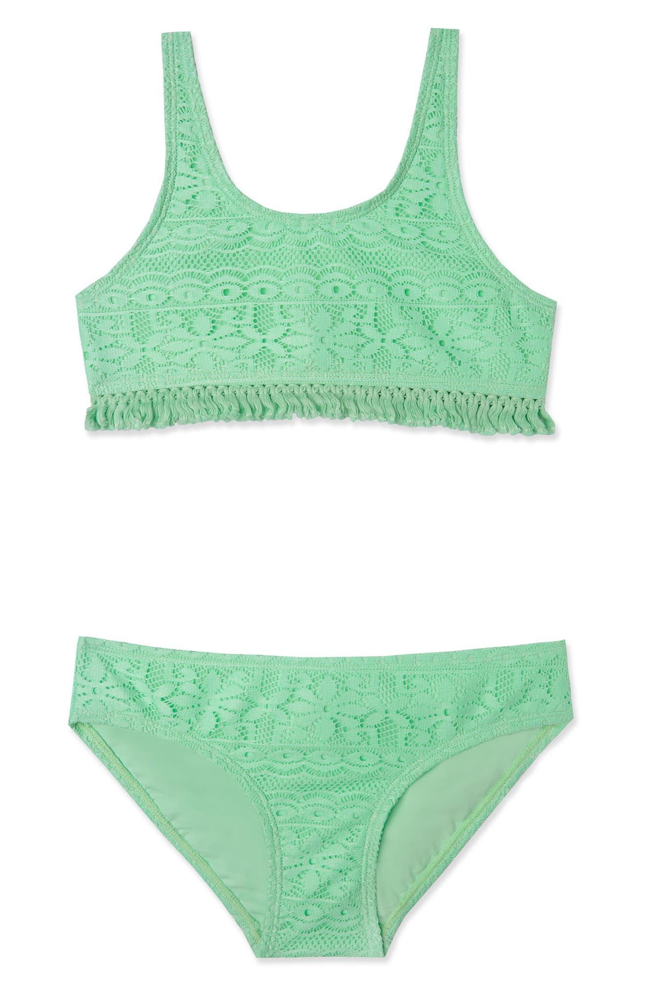Crochet Fringe Two-Piece Swimsuit,                         Main,                         color, Sea Breeze