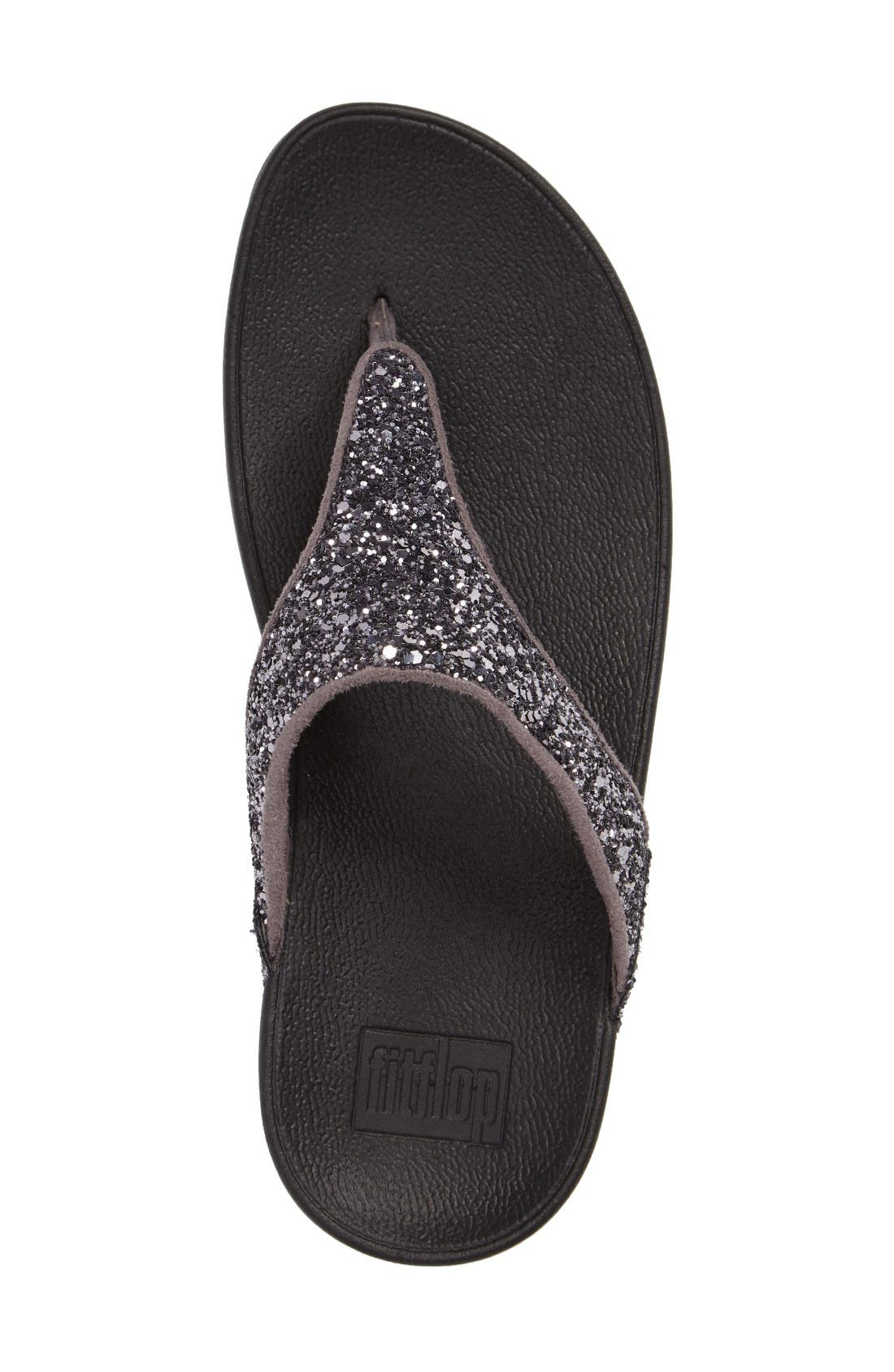 Glitterball<sup>™</sup> Thong Sandal,                             Alternate thumbnail 4, color,                             Pewter Fabric