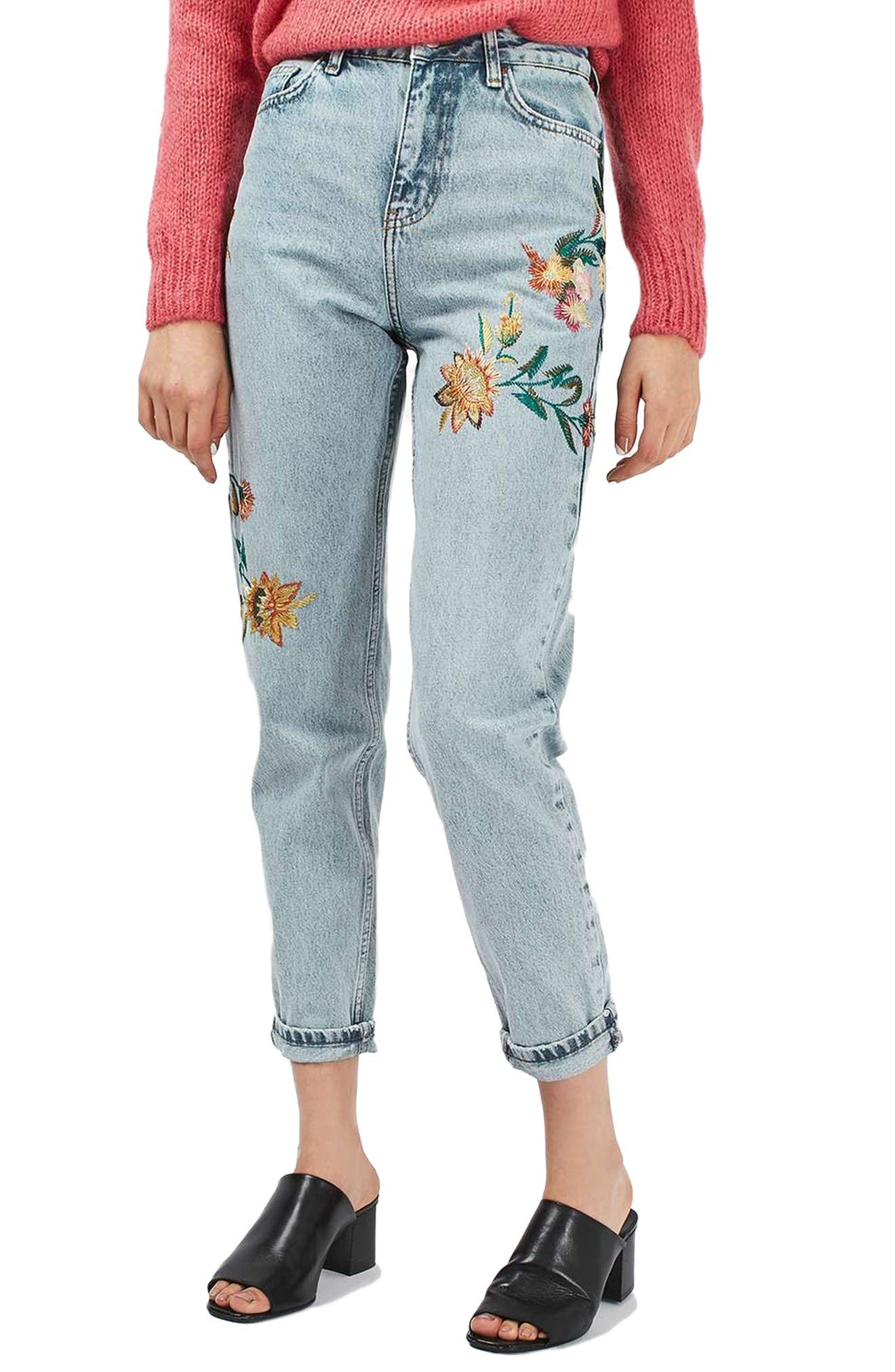 Alternate Image 1 Selected - Topshop Mom Embroidered Jeans