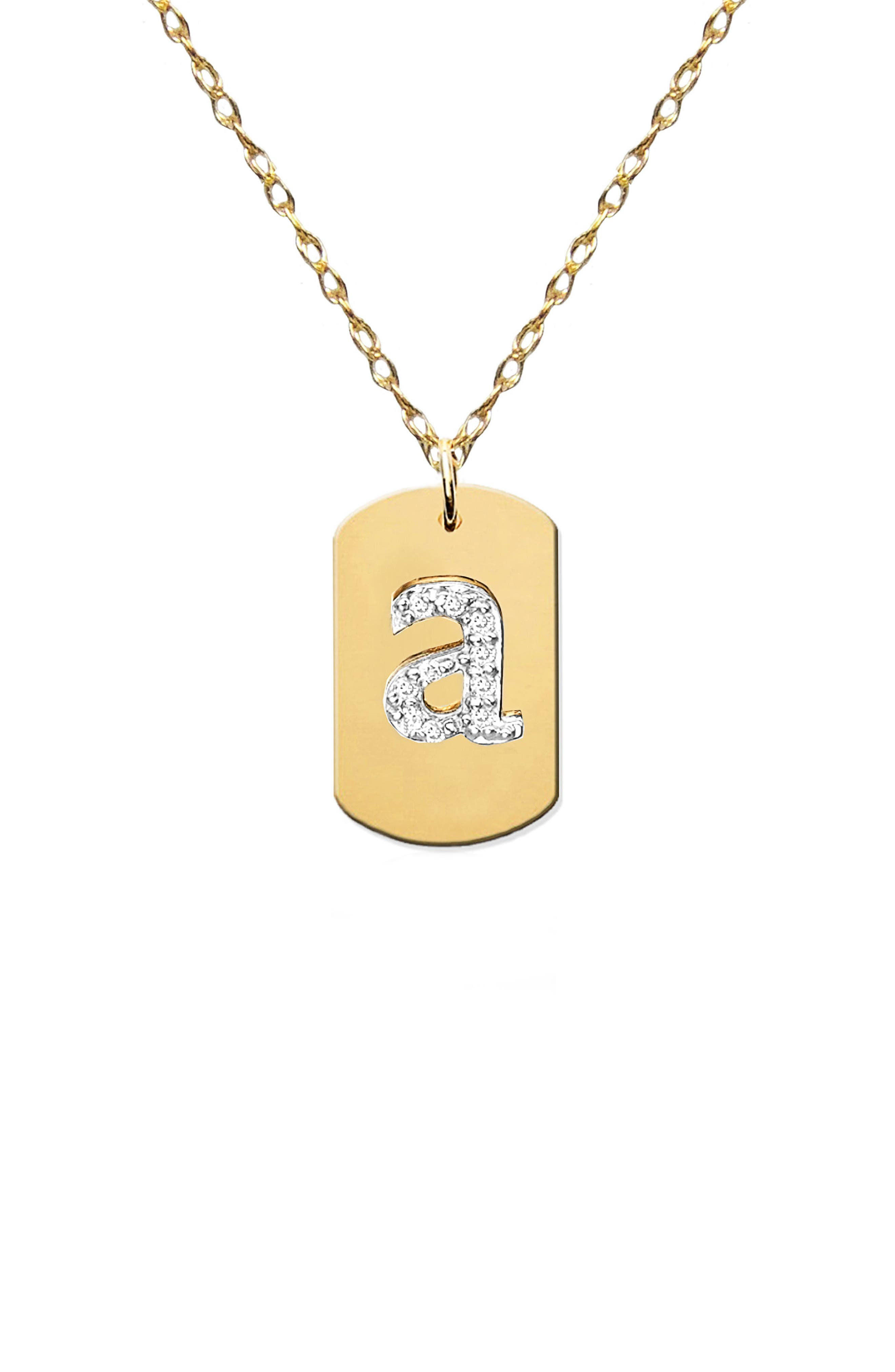 Diamond Initial Dog Tag Necklace,                         Main,                         color, Gold-A