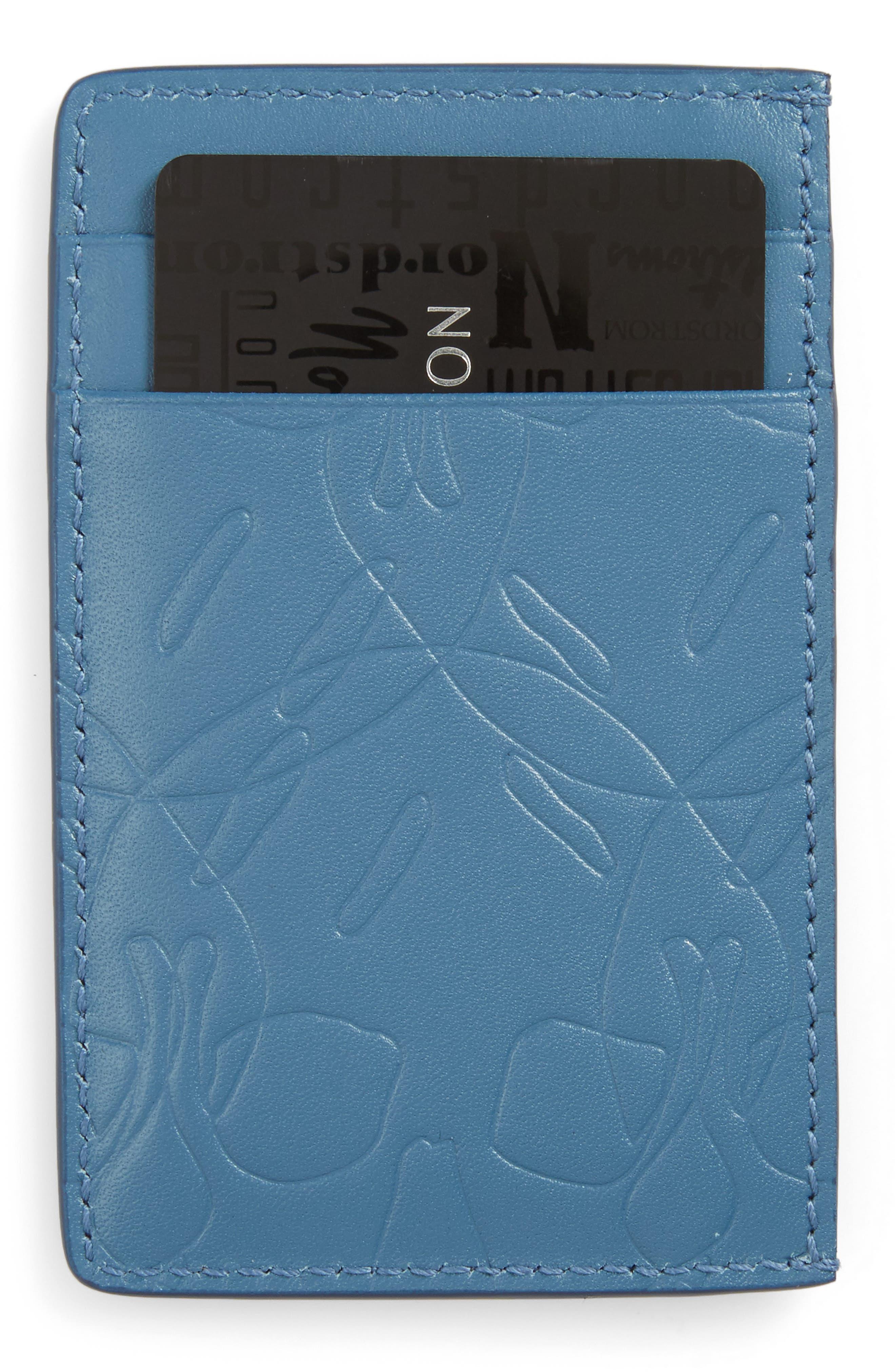 Alternate Image 1 Selected - Alexander McQueen City Debossed Card Case