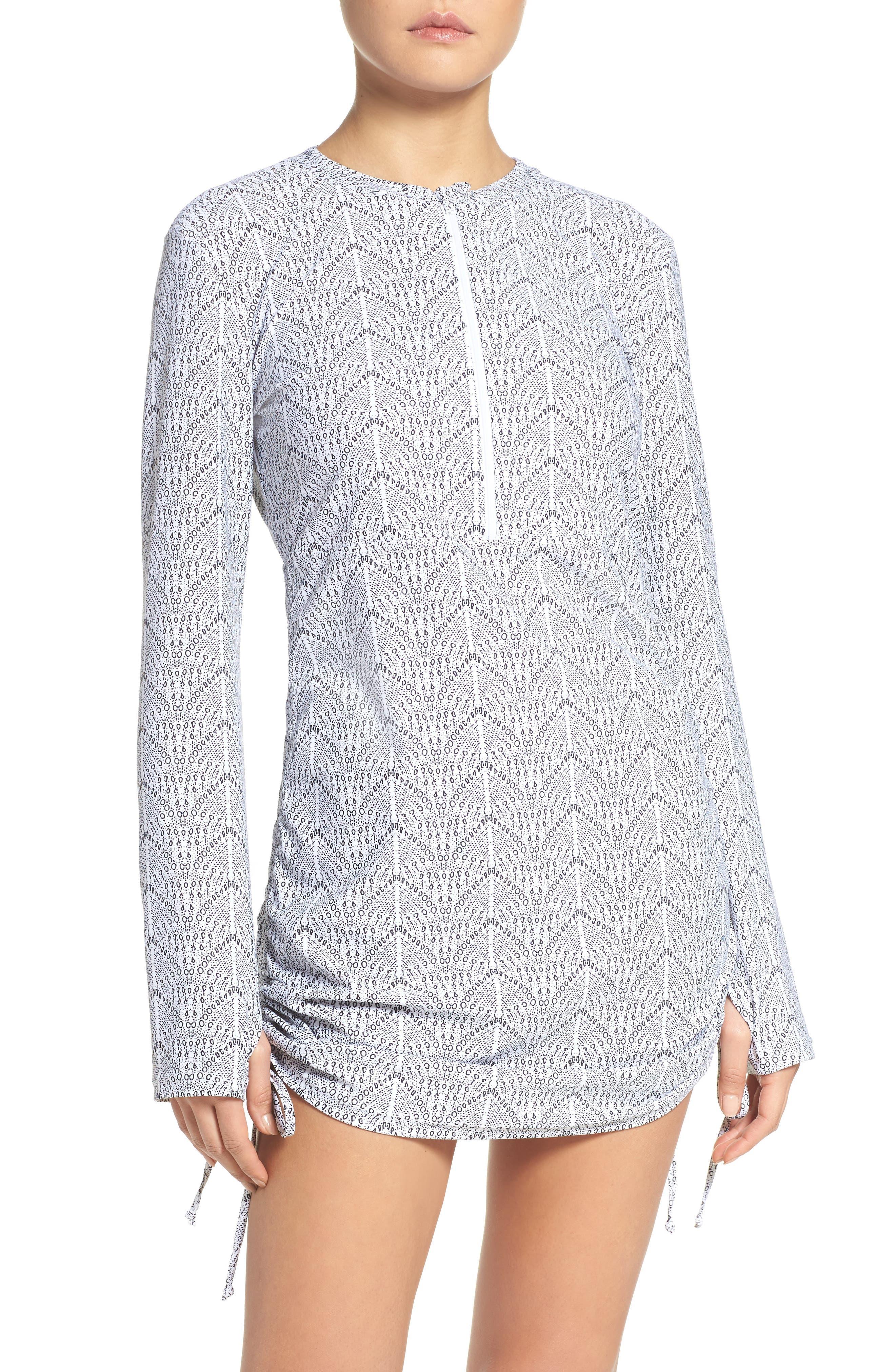 Alternate Image 1 Selected - Mott 50 'Sonja' Long Sleeve Half Zip Convertible Swimdress (UPF 50)
