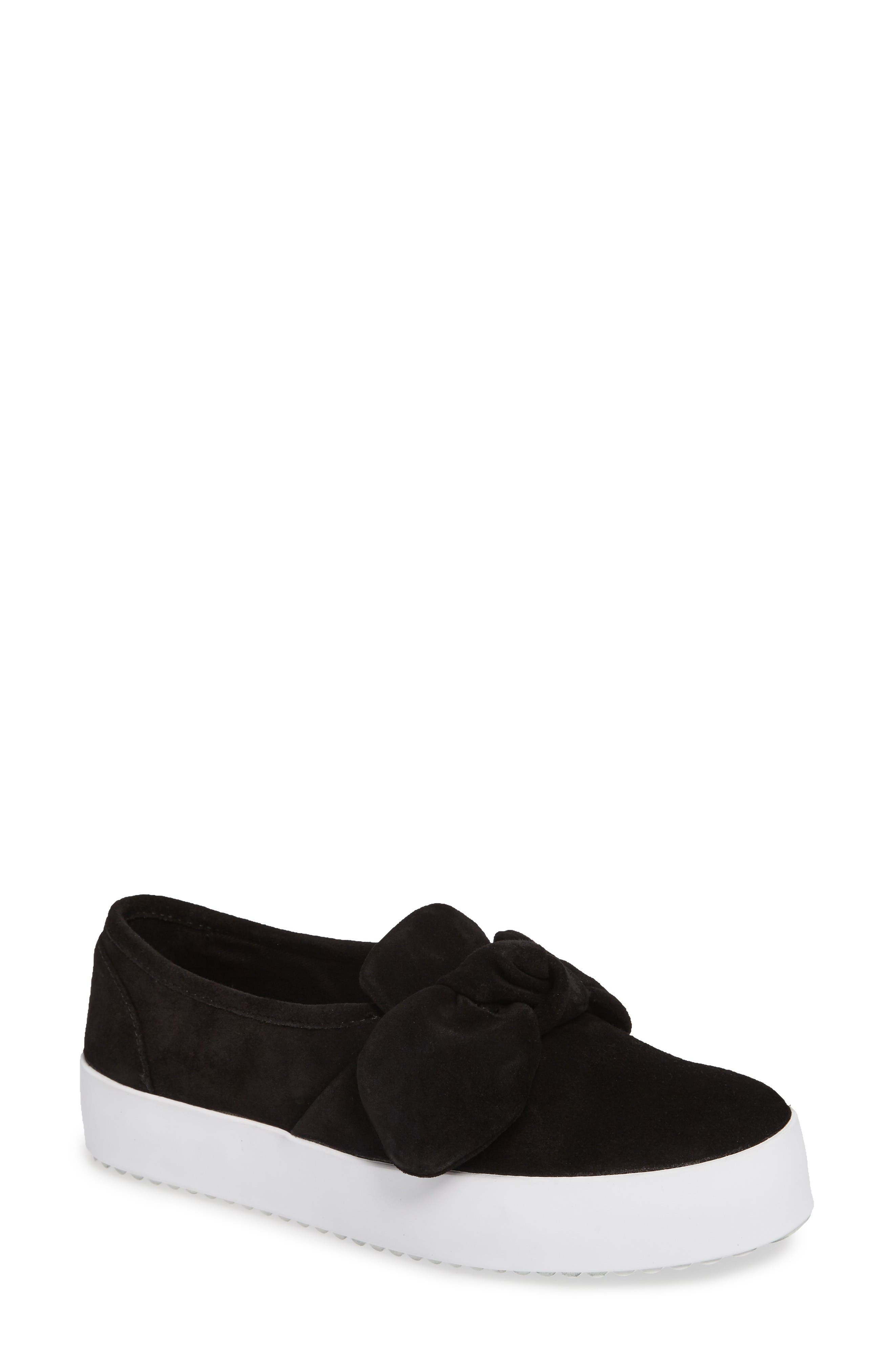 Stacey Bow Platform Sneaker,                         Main,                         color, Black Oiled Suede