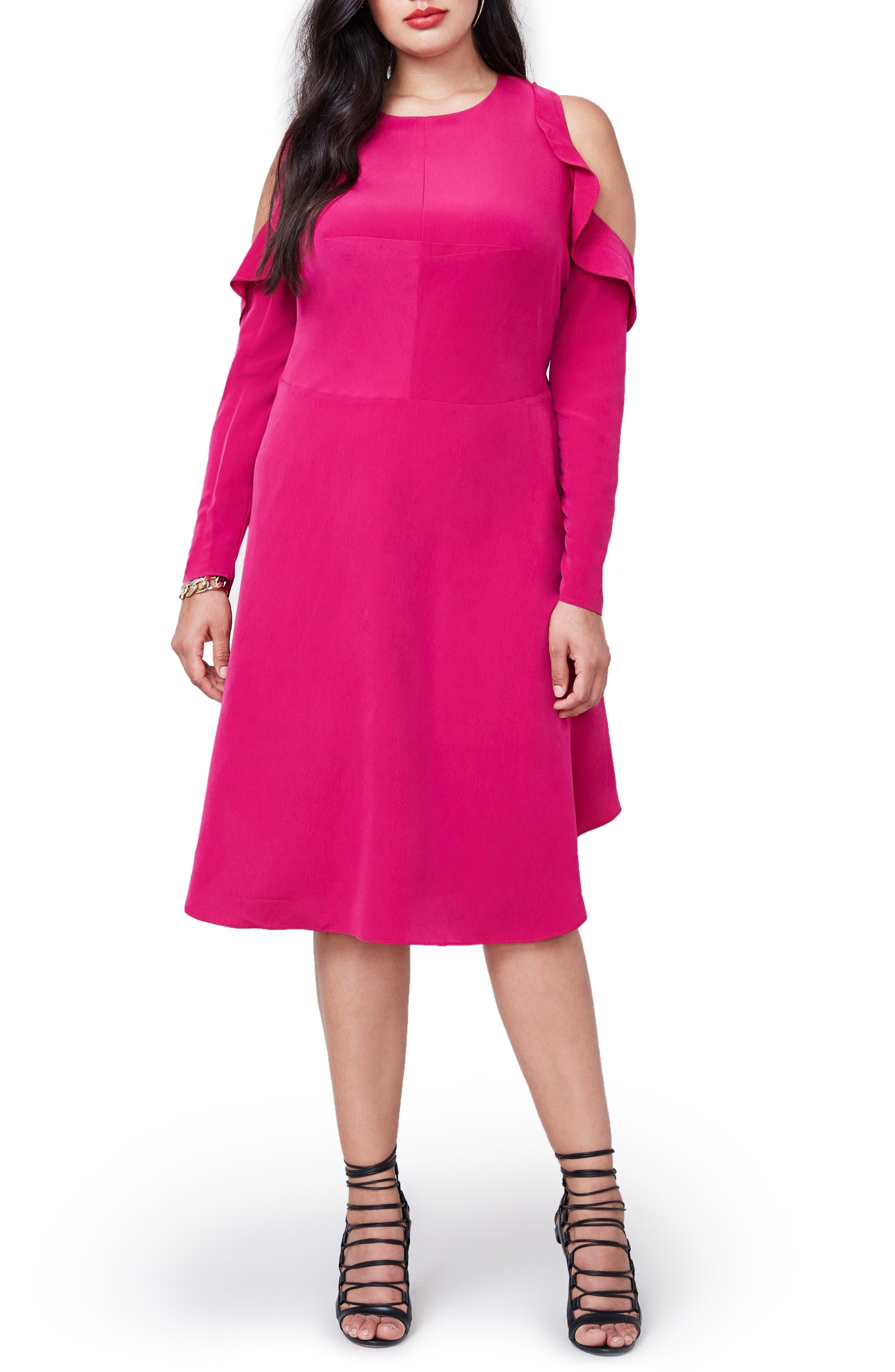 RACHEL Rachel Roy Ruffle Cold Shoulder Dress,                         Main,                         color, Fuchsia