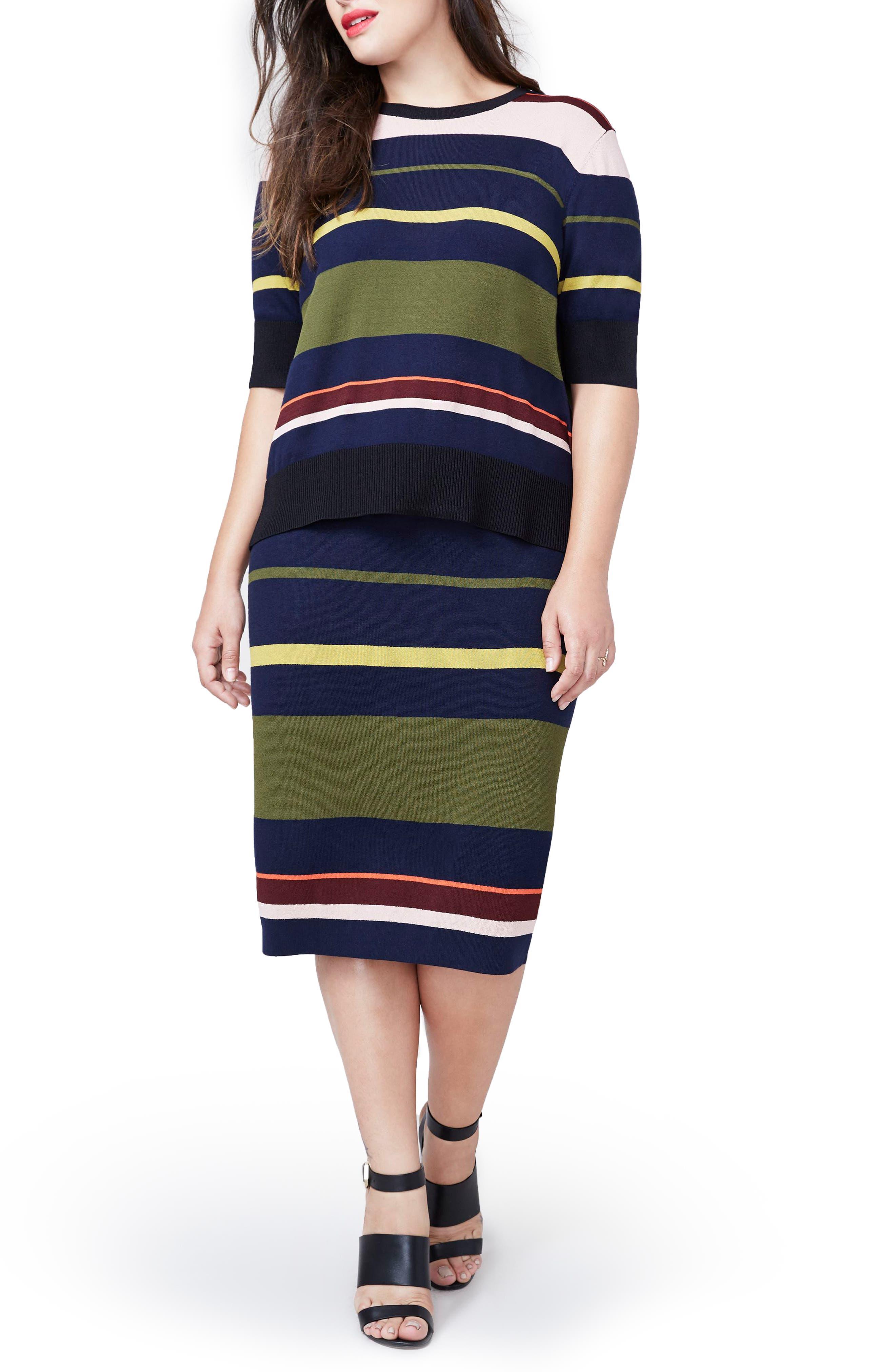 Rachel Roy Variegated Stripe Midi Skirt,                             Main thumbnail 1, color,                             Flame Combo