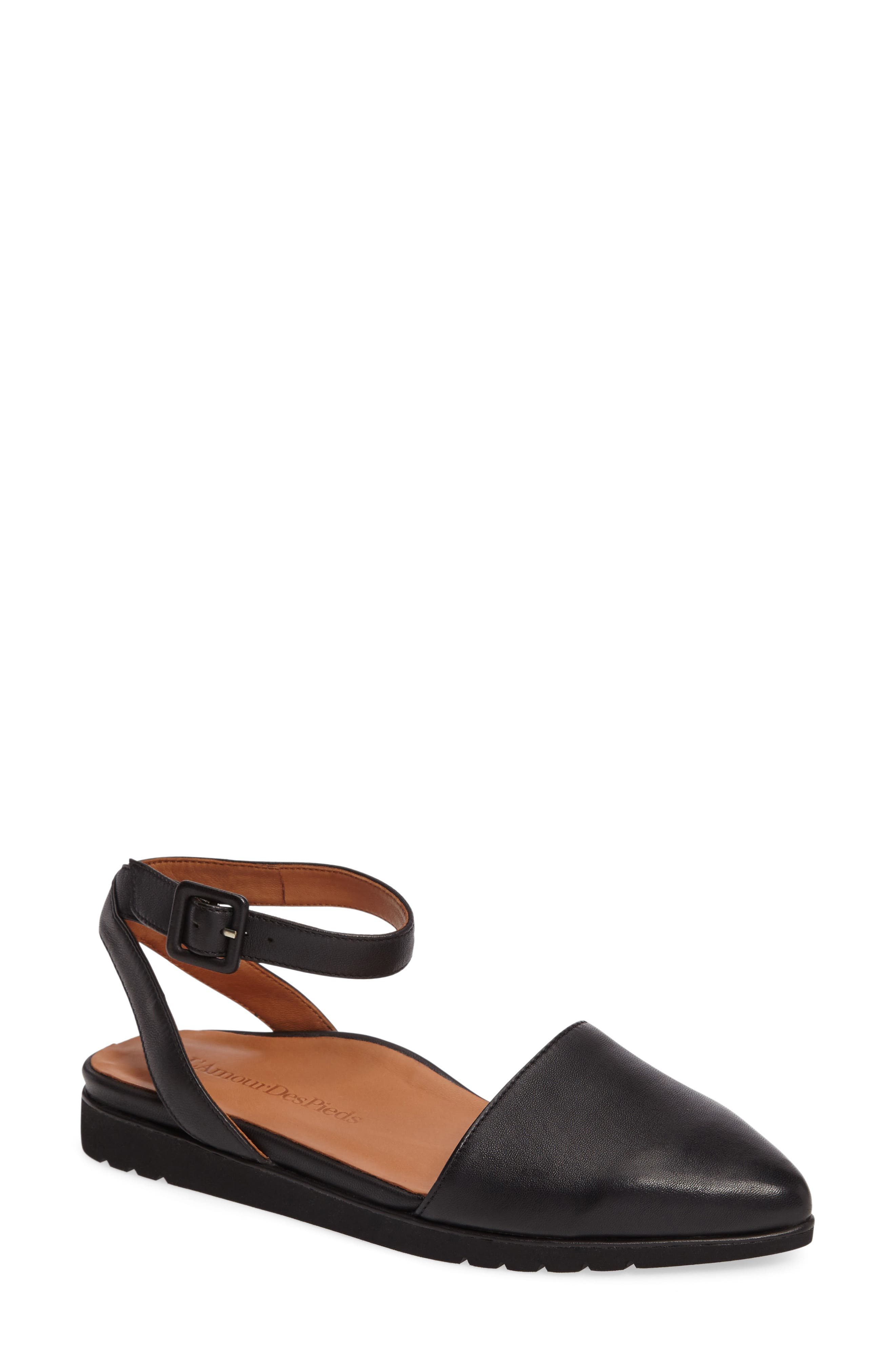 Madolen Strappy Flat,                             Main thumbnail 1, color,                             Black Leather