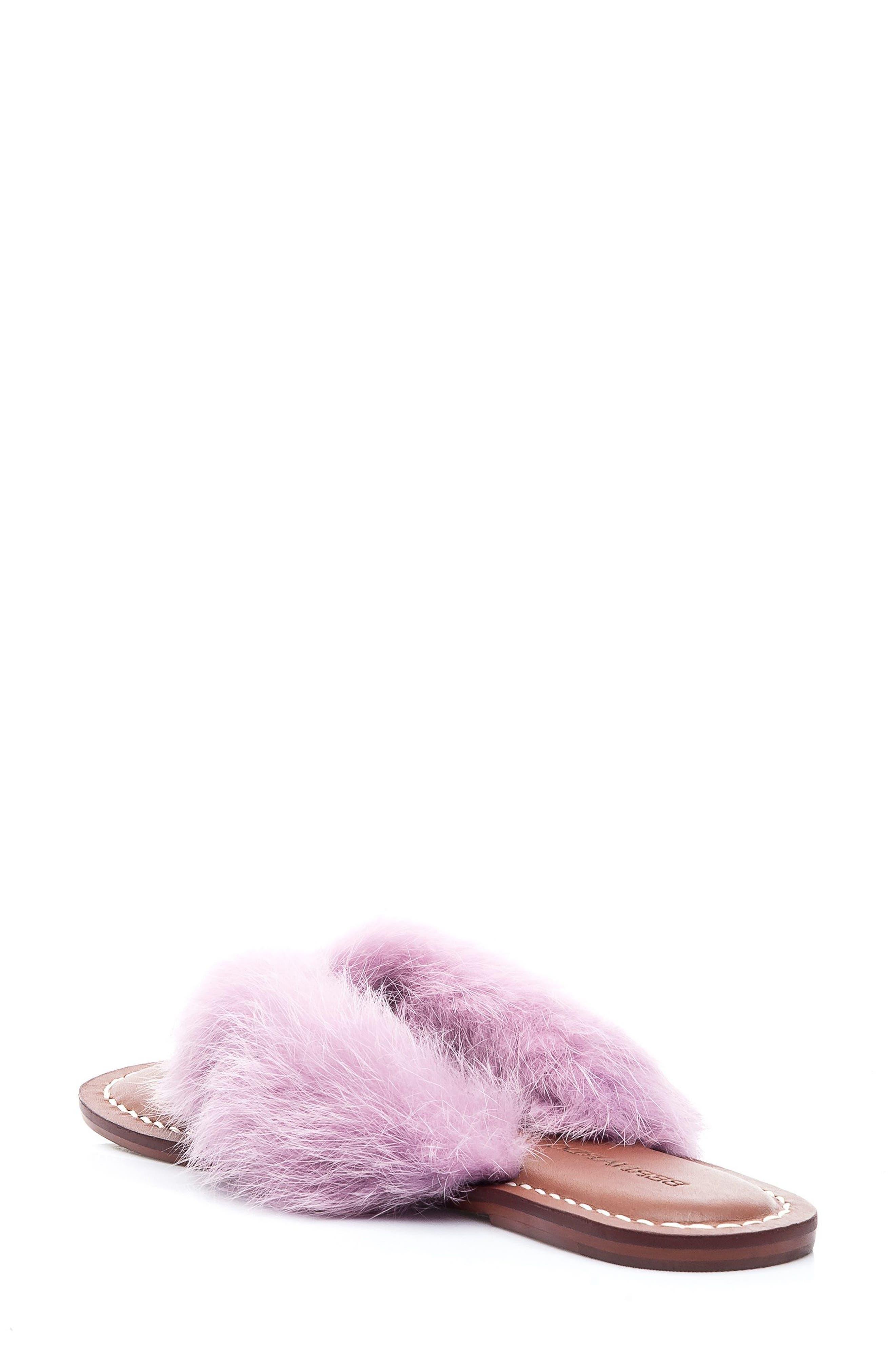 Genuine Rabbit Fur Flip Flop,                             Alternate thumbnail 2, color,                             Light Pink Fur