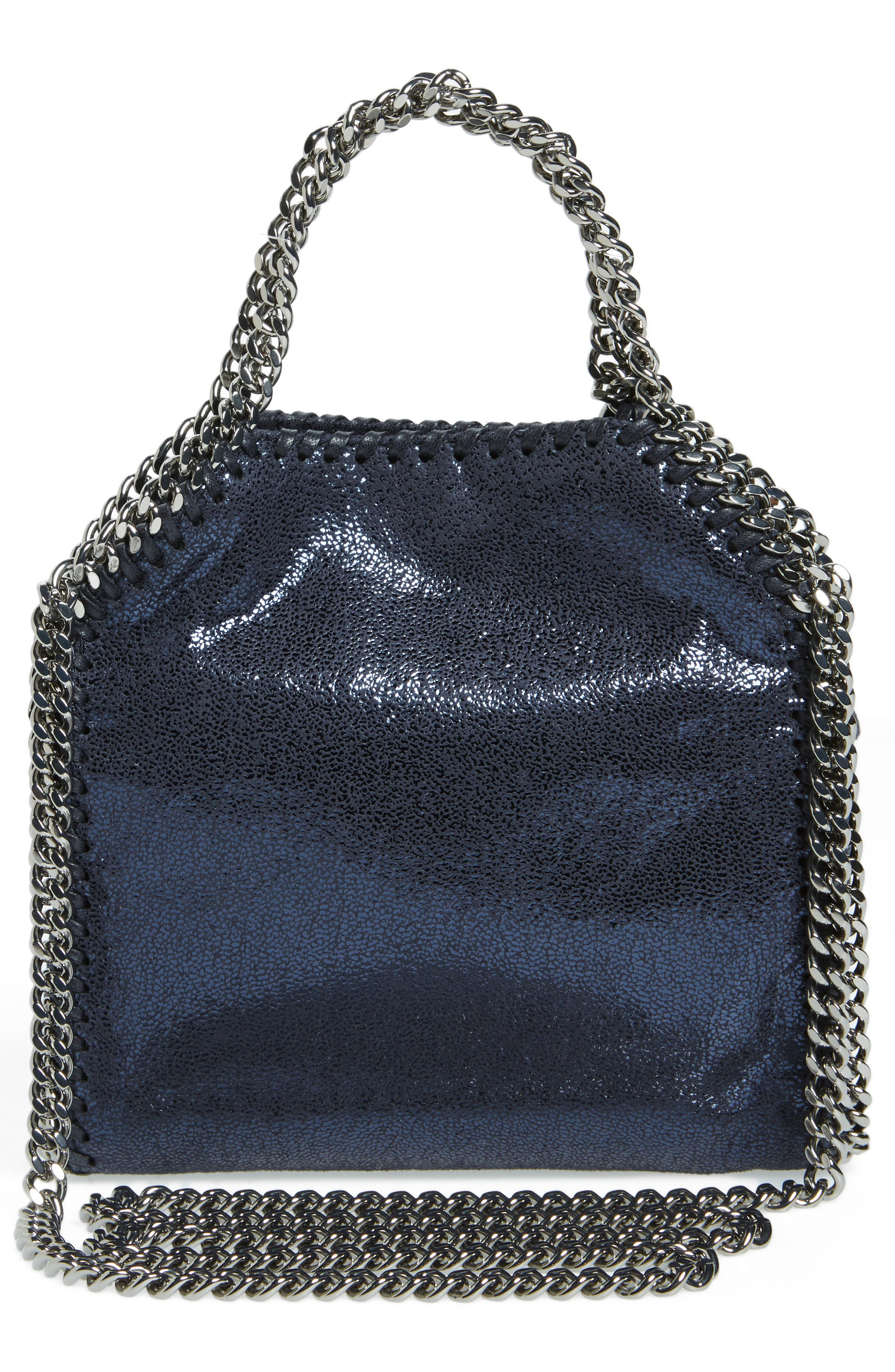 'Tiny Falabella' Metallic Faux Leather Crossbody Bag,                             Alternate thumbnail 2, color,                             Ink
