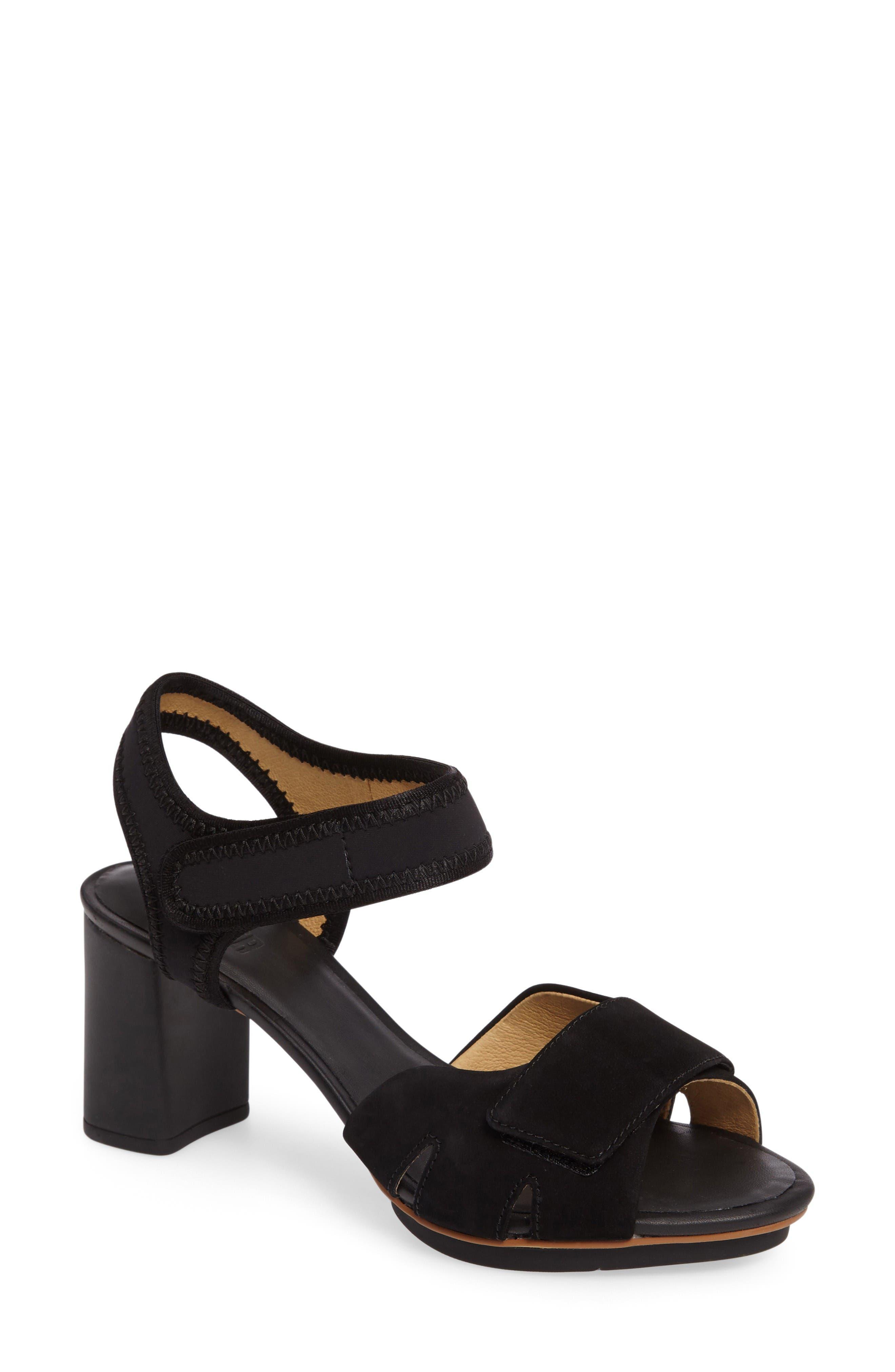 'Myriam' Ankle Strap Platform Sandal,                             Main thumbnail 1, color,                             Black/ Black Leather