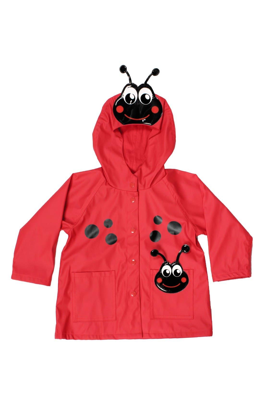 Main Image - Western Chief Ladybug Hooded Raincoat (Toddler Girls & Little Girls)