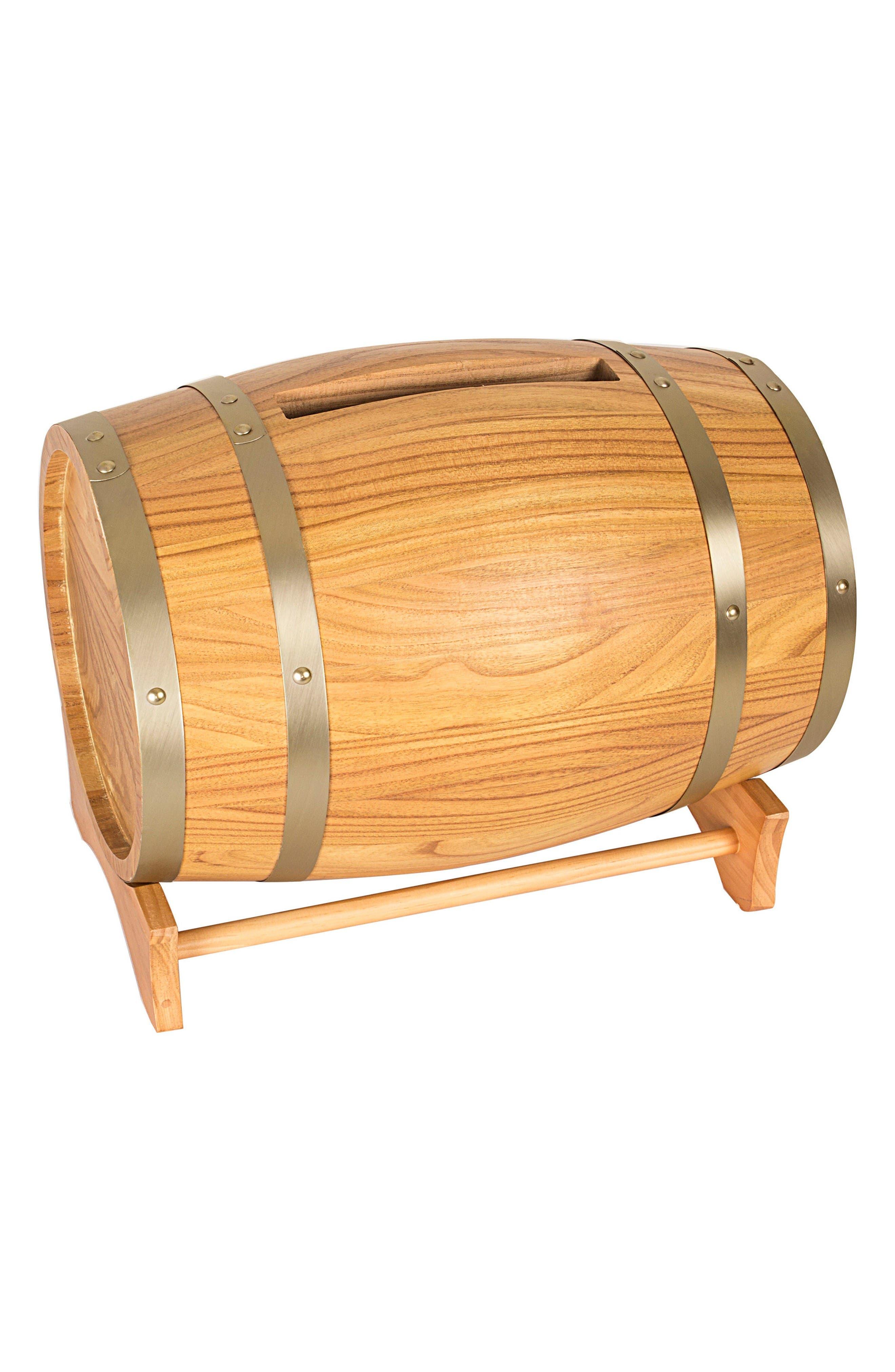Wine Barrel Reception Card Holder,                         Main,                         color, Brown-Blank