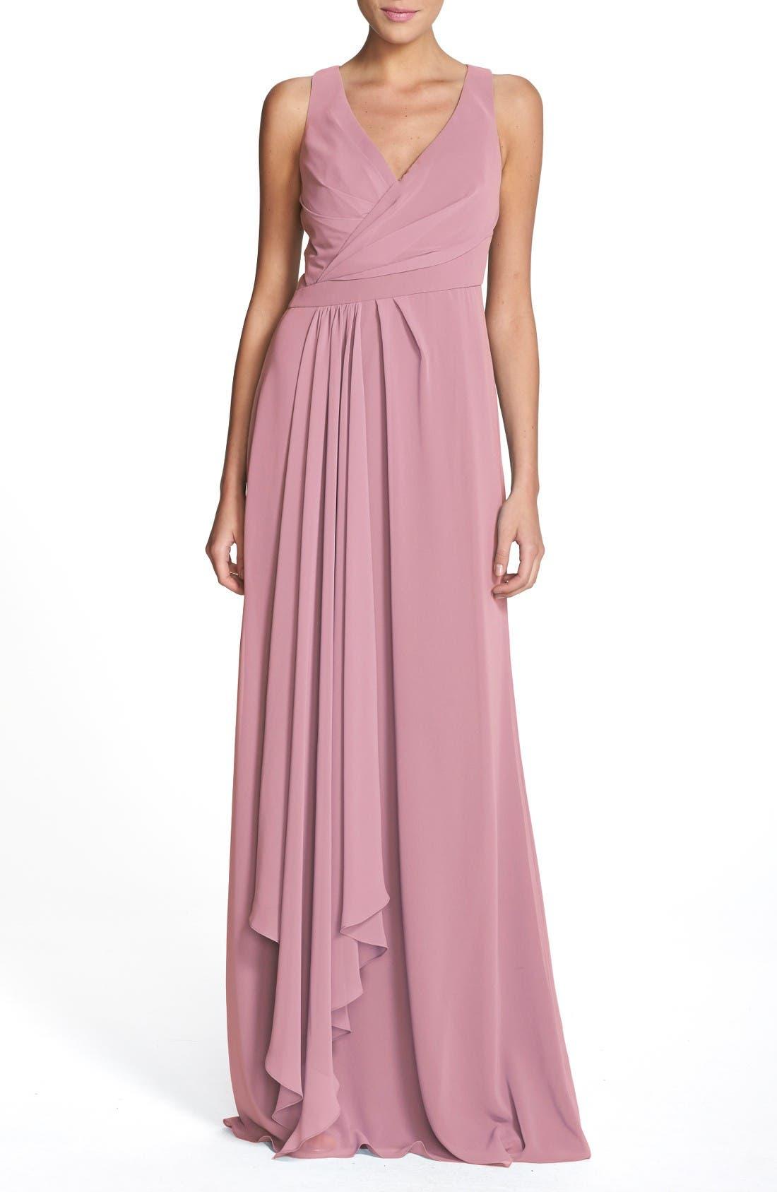 Sleeveless V-Neck Chiffon Gown,                             Main thumbnail 1, color,                             Cerise