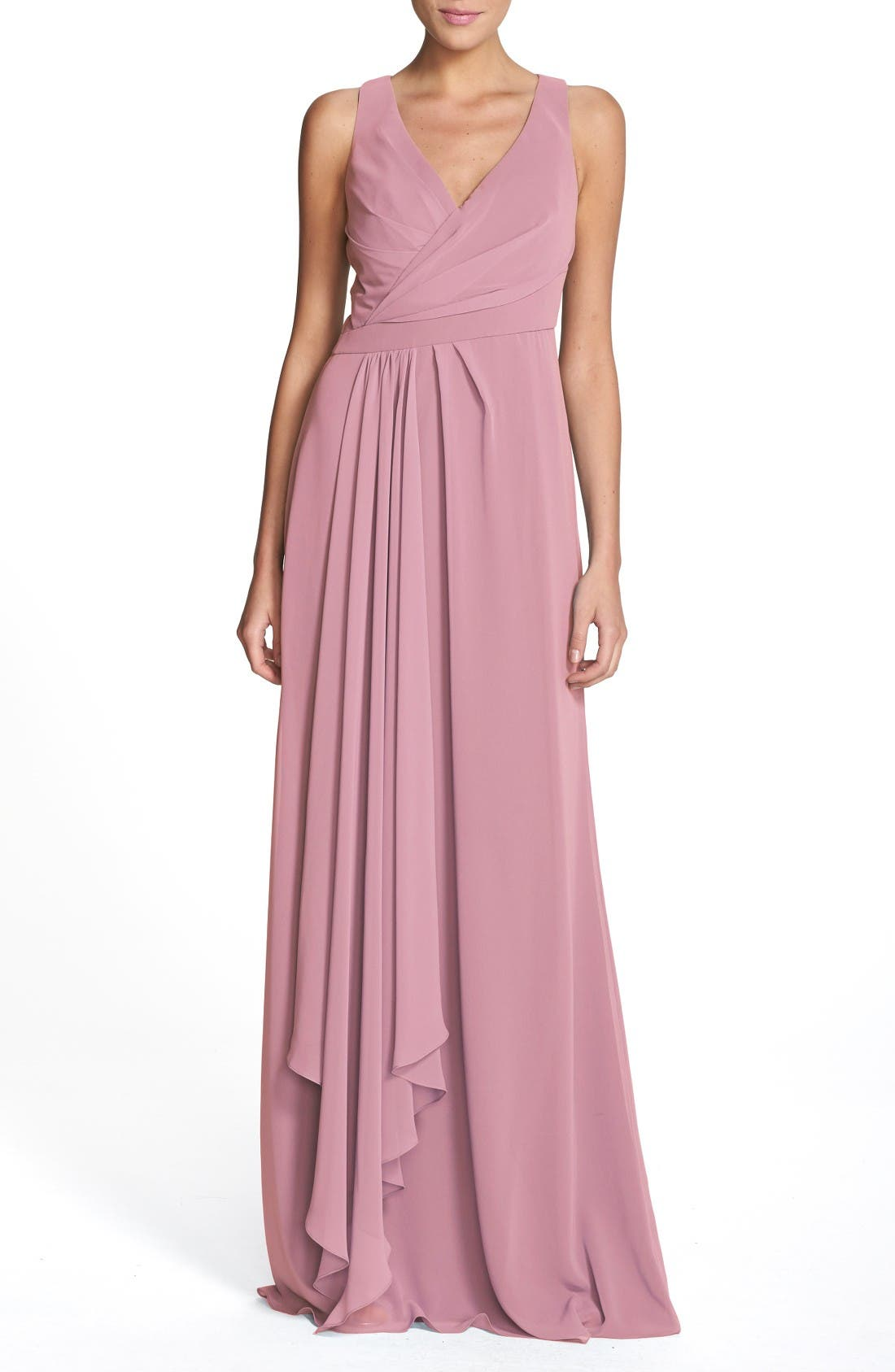 Sleeveless V-Neck Chiffon Gown,                         Main,                         color, Cerise