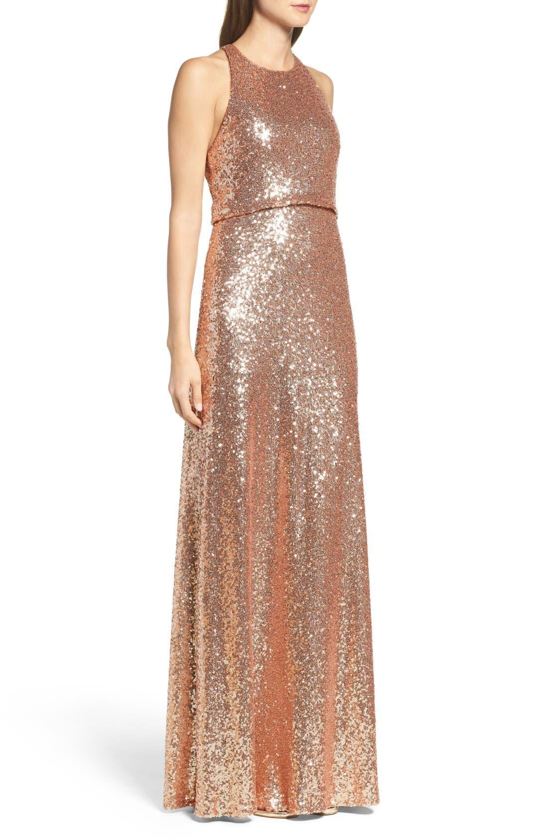 Sloane Sequin Halter Gown,                             Alternate thumbnail 3, color,                             Rose Gold