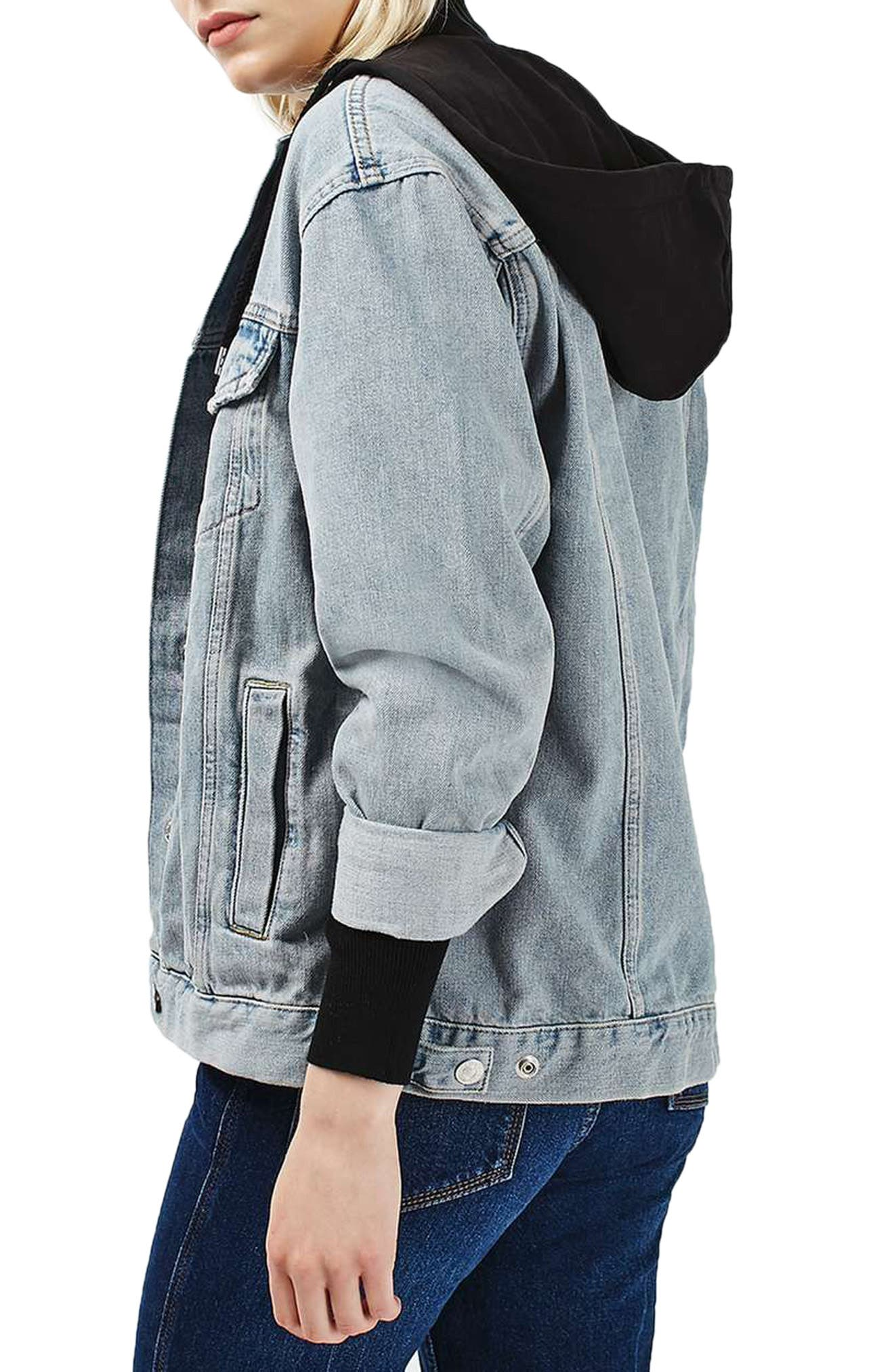 Alternate Image 3  - Topshop Hooded Denim Jacket