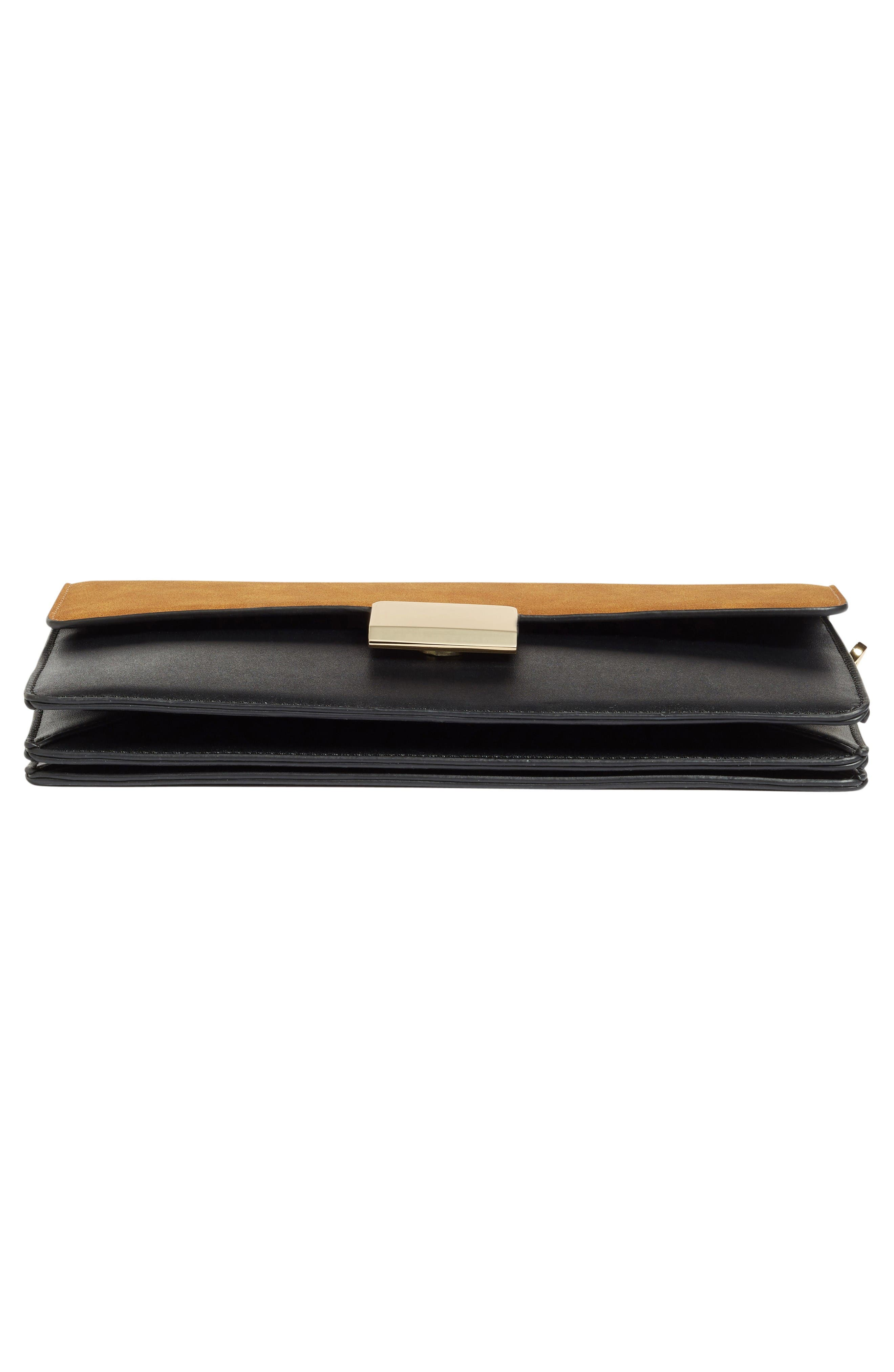 Leighton Colorblock Faux Leather Crossbody Bag,                             Alternate thumbnail 6, color,                             Black/Cognac