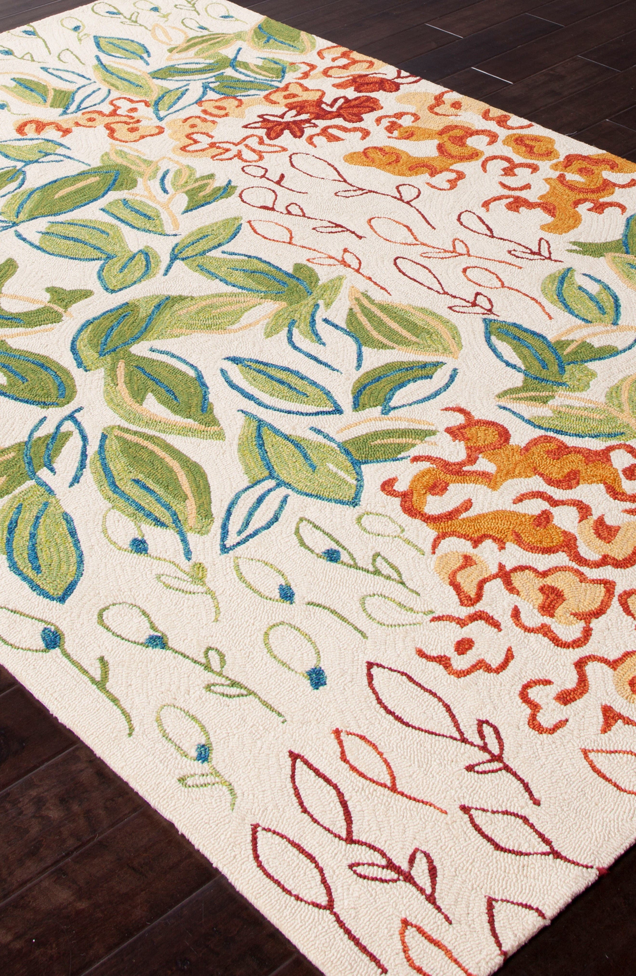 Garden Indoor/Outdoor Rug,                             Alternate thumbnail 3, color,                             Green/ Ivory