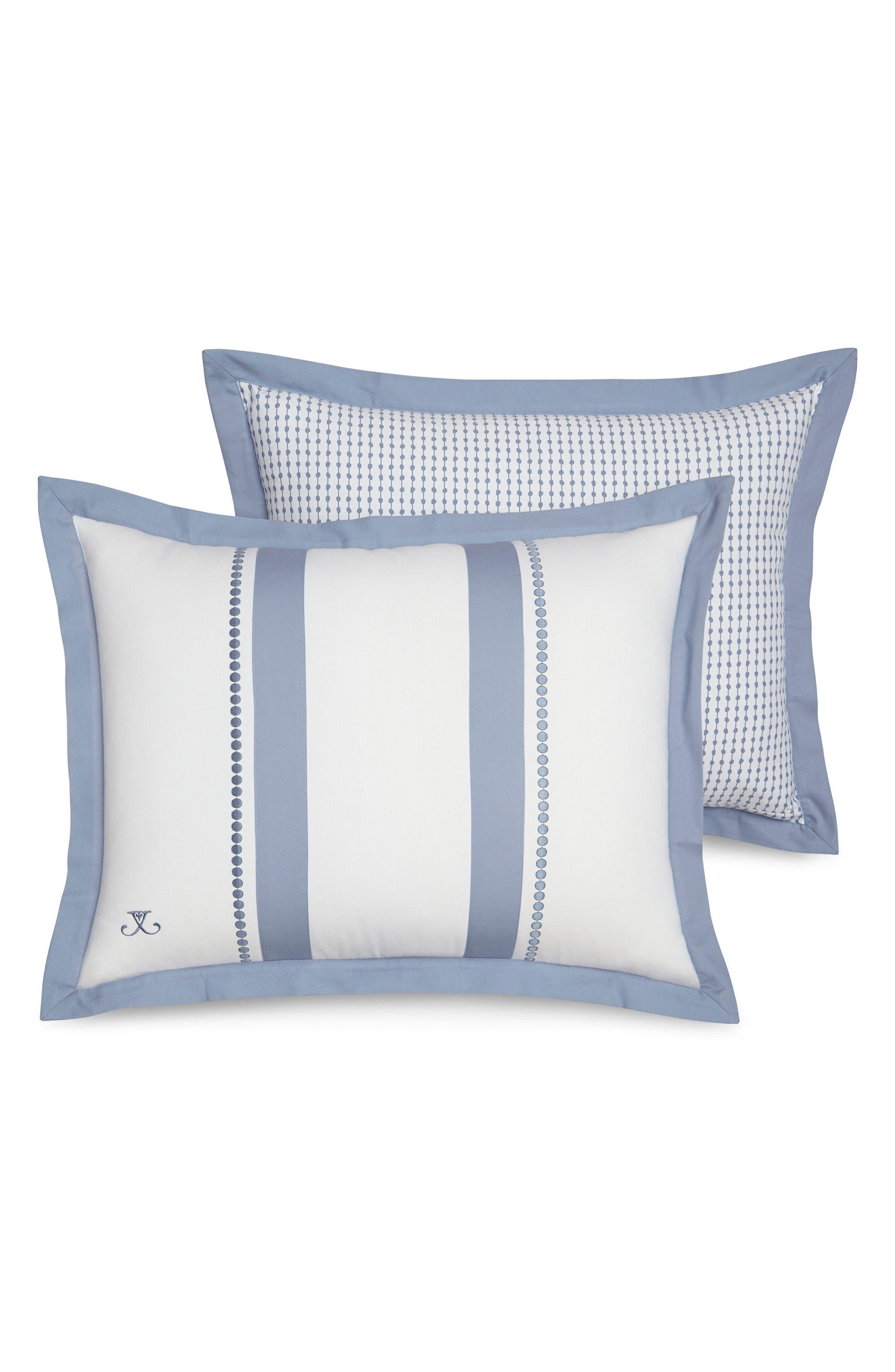 London Standard Sham,                         Main,                         color, White/ Blue