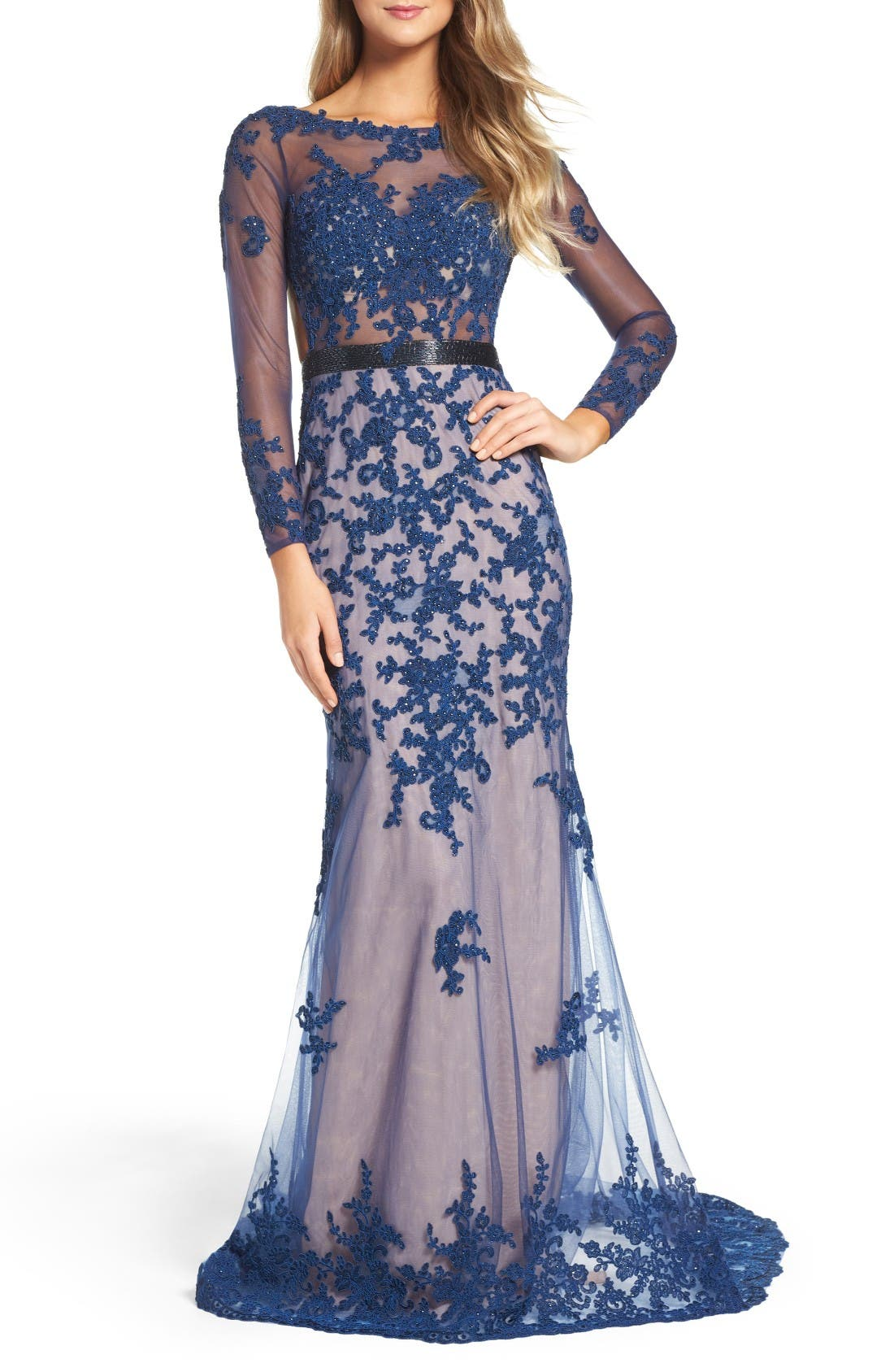 Mac Duggal Open Back Embroidered Tulle Gown