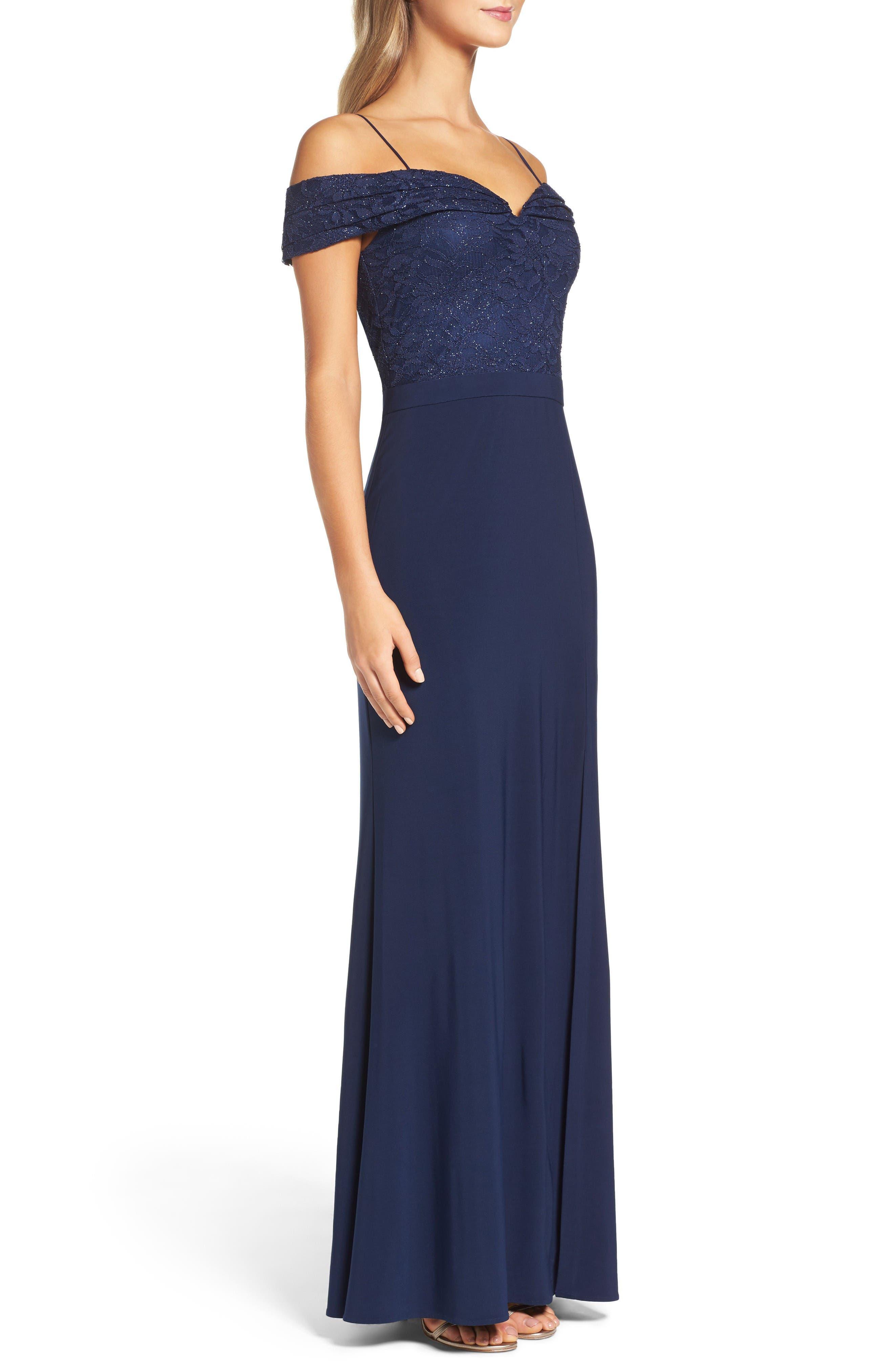 Alternate Image 3  - Morgan & Co. Sparkle Off the Shoulder Gown