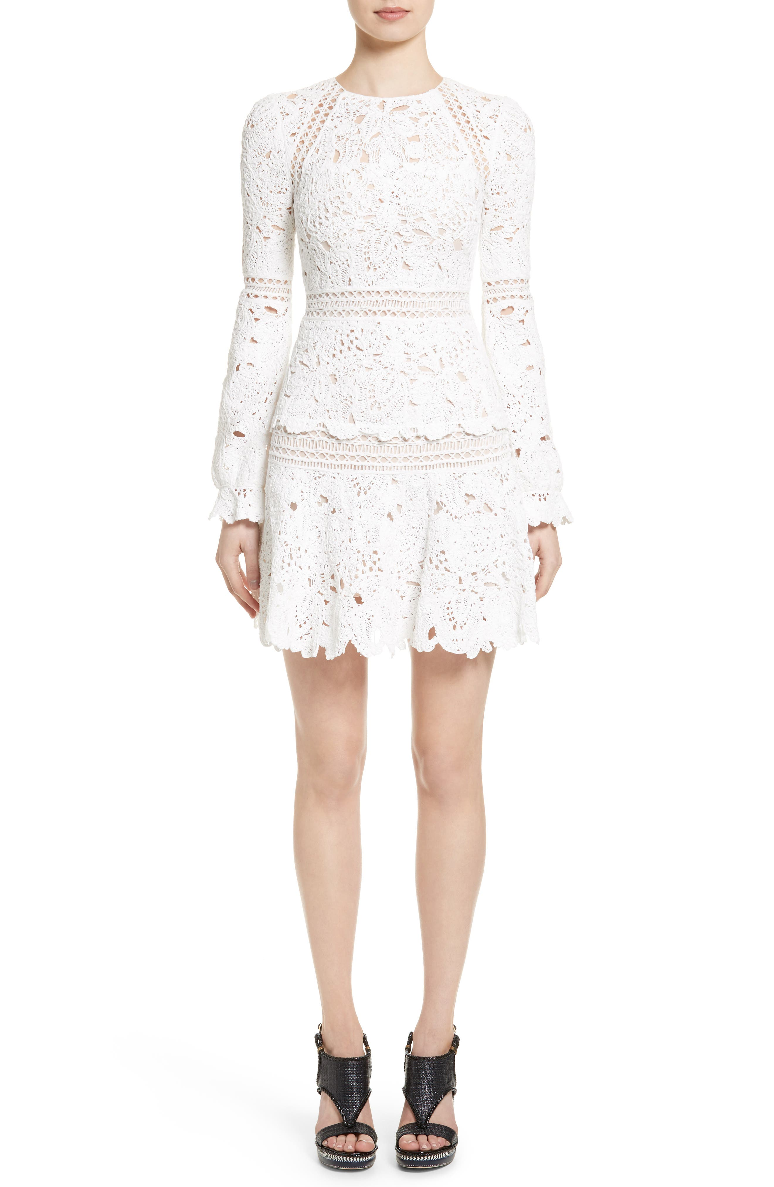 Crochet Ruffle Dress,                         Main,                         color, Ivory