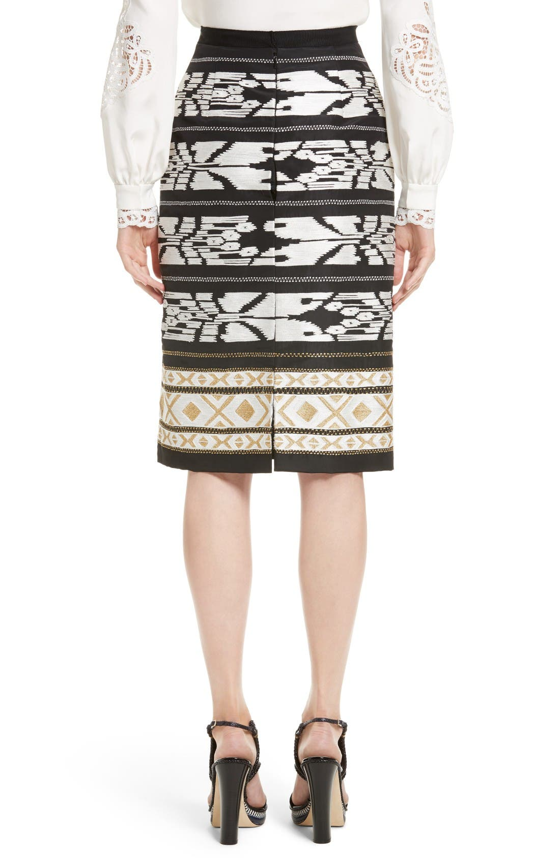 Alternate Image 2  - Oscar de la Renta Ikat Embroidered Pencil Skirt
