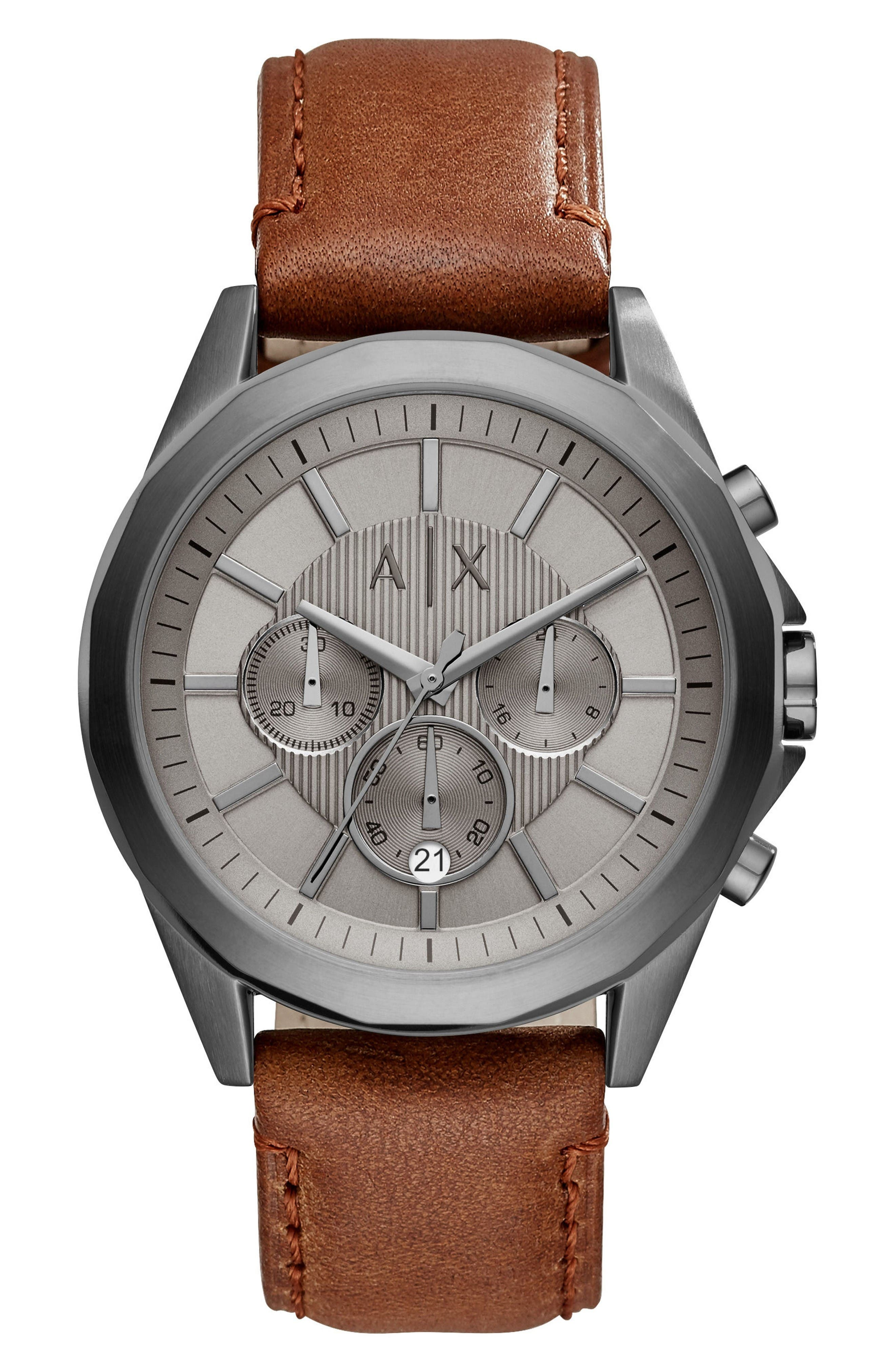 Chronograph Leather Strap Watch, 44mm,                         Main,                         color, Grey/ Brown