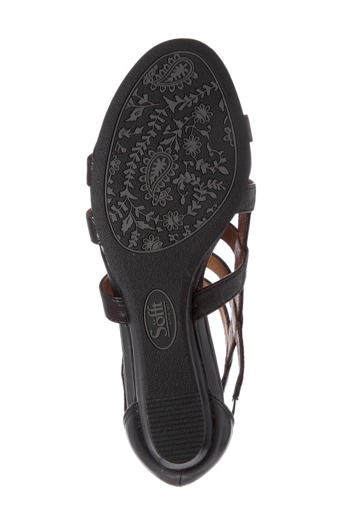 Rio Gladiator Wedge Sandal,                             Alternate thumbnail 4, color,                             Black Leather