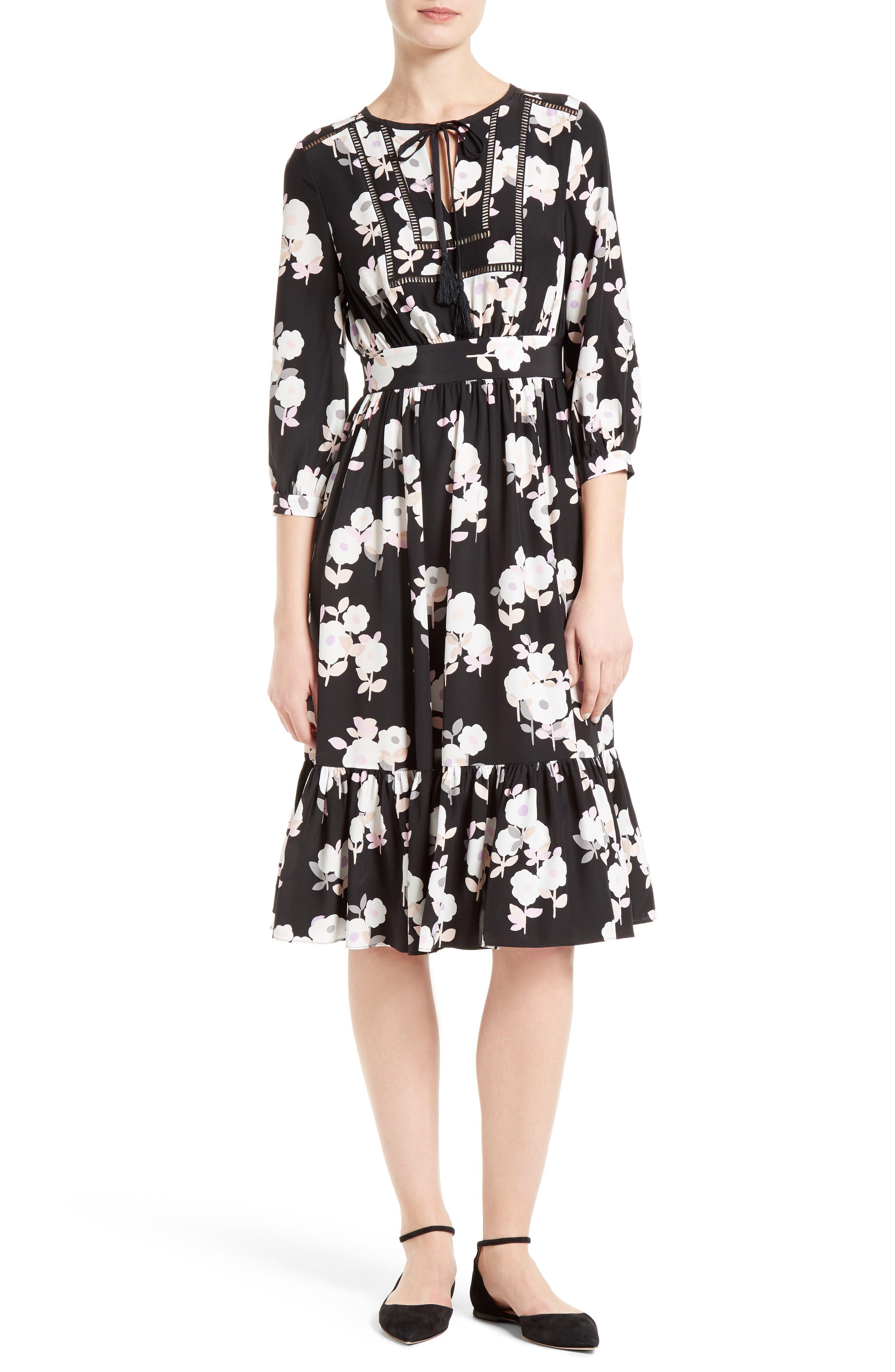 Alternate Image 1 Selected - kate spade new york posy floral silk midi dress