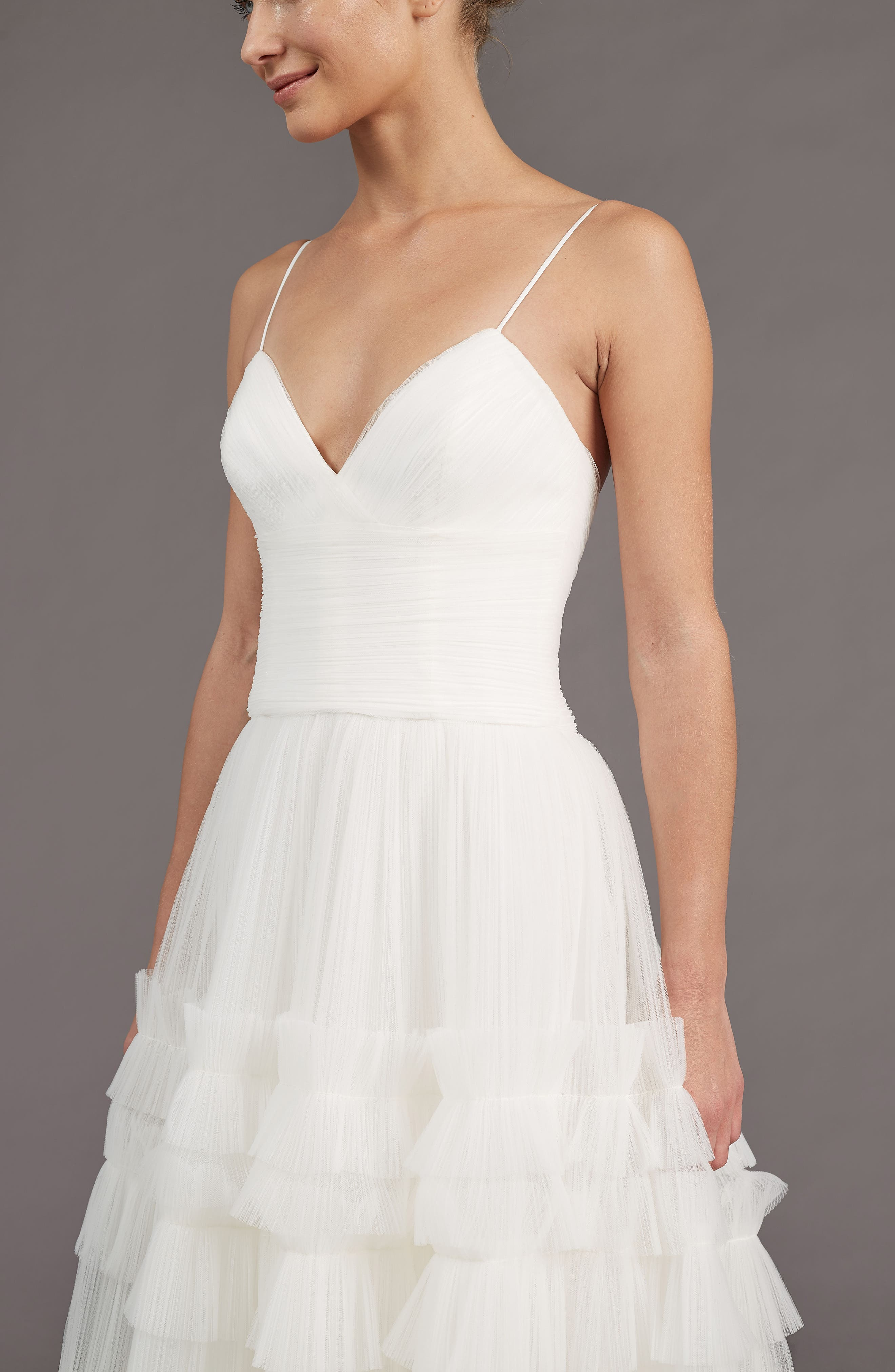 Alternate Image 3  - Amsale Saylor Ruffle A-Line Gown